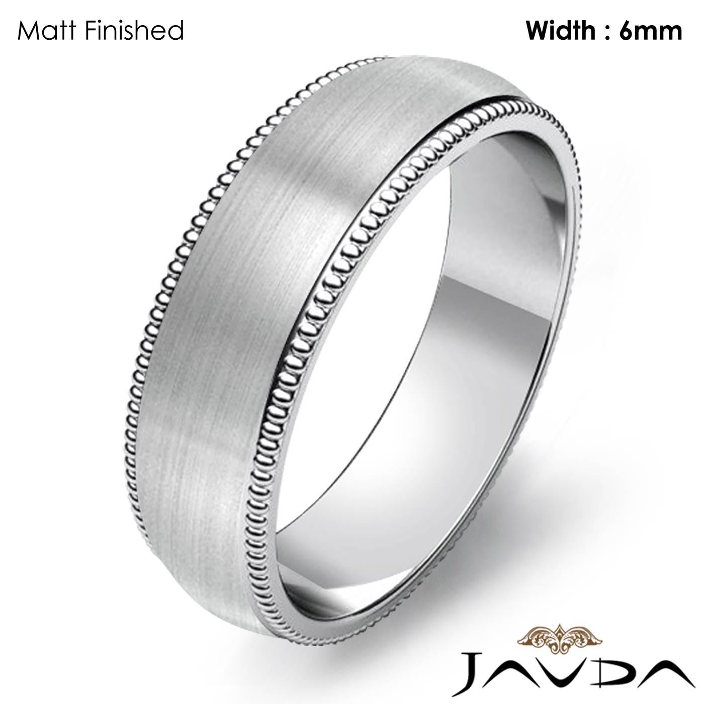 Platinum Double Milgrain 6mm Wide Flat Wedding Band Ring: Solid Men Wedding Band Dome Milgrain Edge Ring 6mm 14k