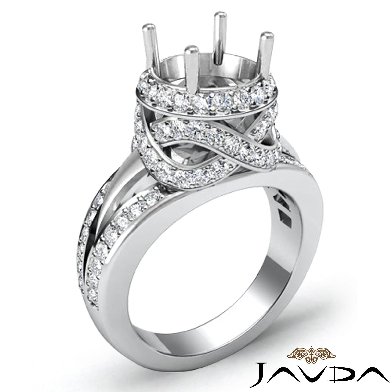 1.3Ct Diamond Engagement Halo Pave Setting Ring Round Semi ...