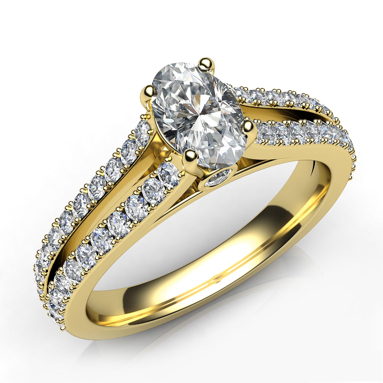 Split Shank Oval Diamond Engagement Ring GIA D Color VVS1