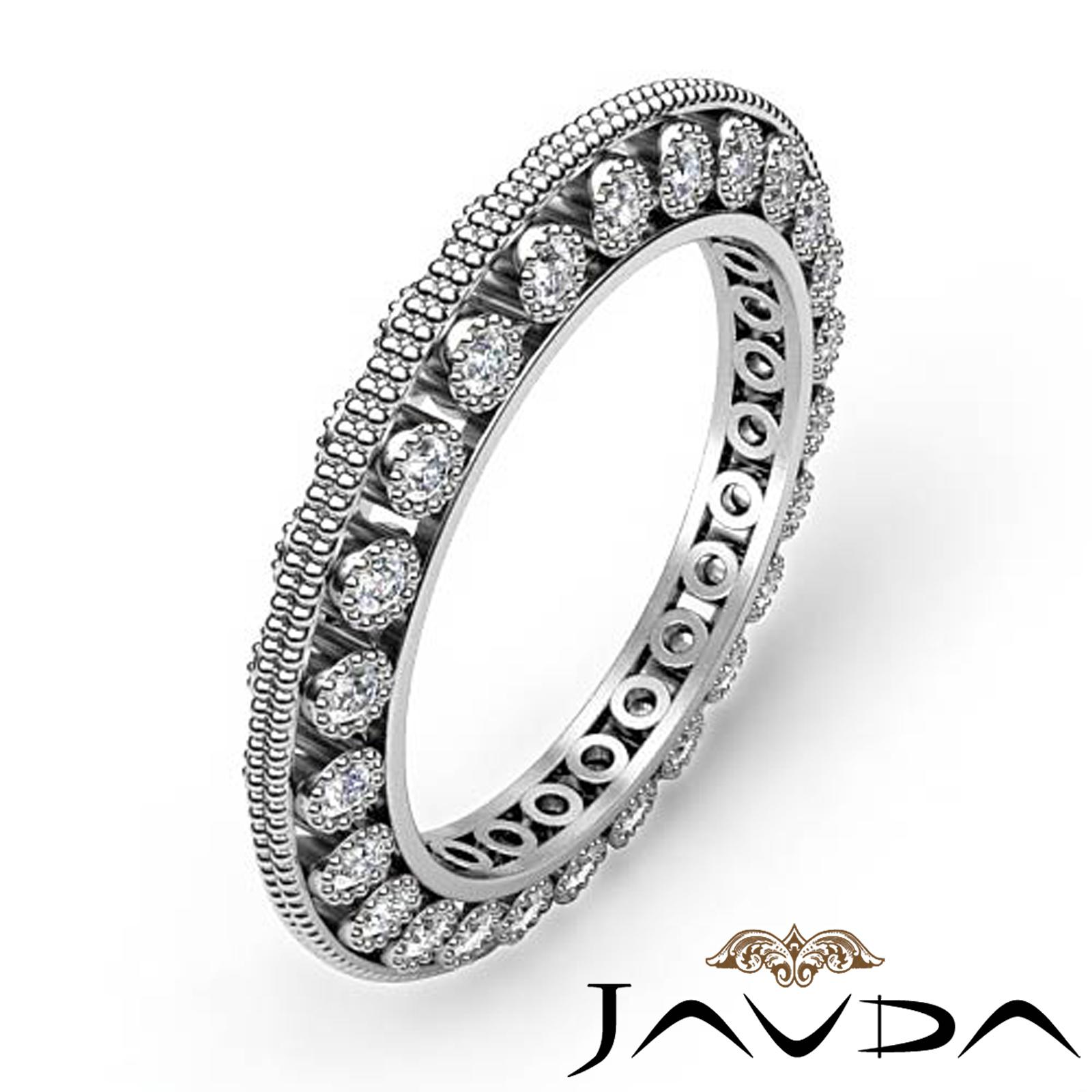 round diamond womens milgrain eternity wedding ring band. Black Bedroom Furniture Sets. Home Design Ideas