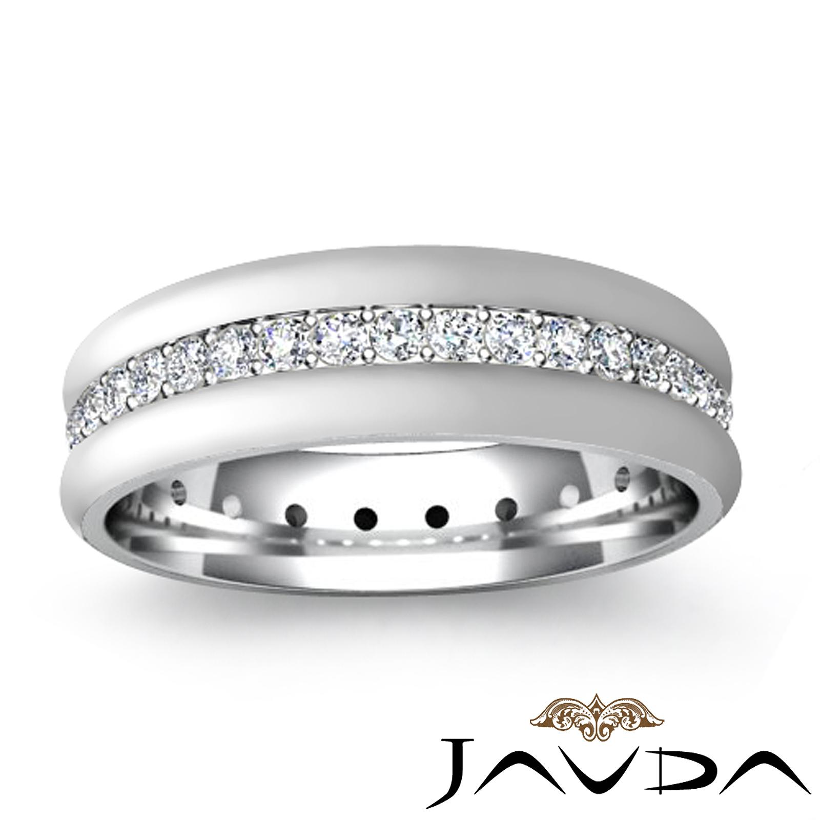 Round Pave Set Eternity Wedding Diamond Mens Dome Band Ring Platinum 950 0 75Ct