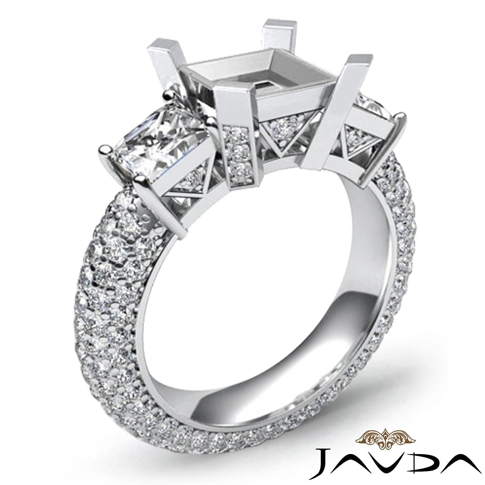 Stones Platinum: Three 3 Stone Princess Diamond Wedding Eternity Ring