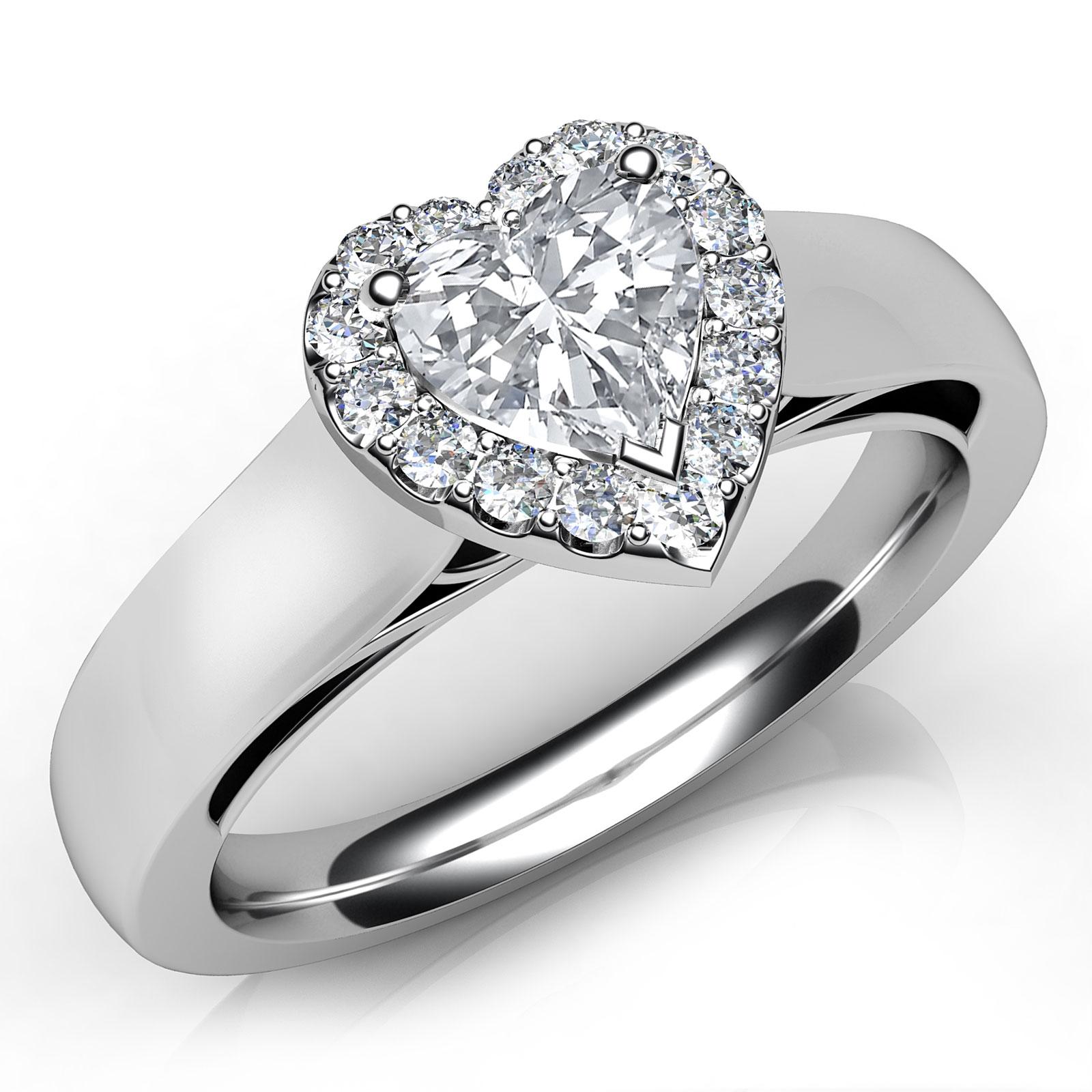 Colored Diamond Wedding Ring Sets: Heart Shape Halo Pave Set Diamond Engagement Ring GIA G