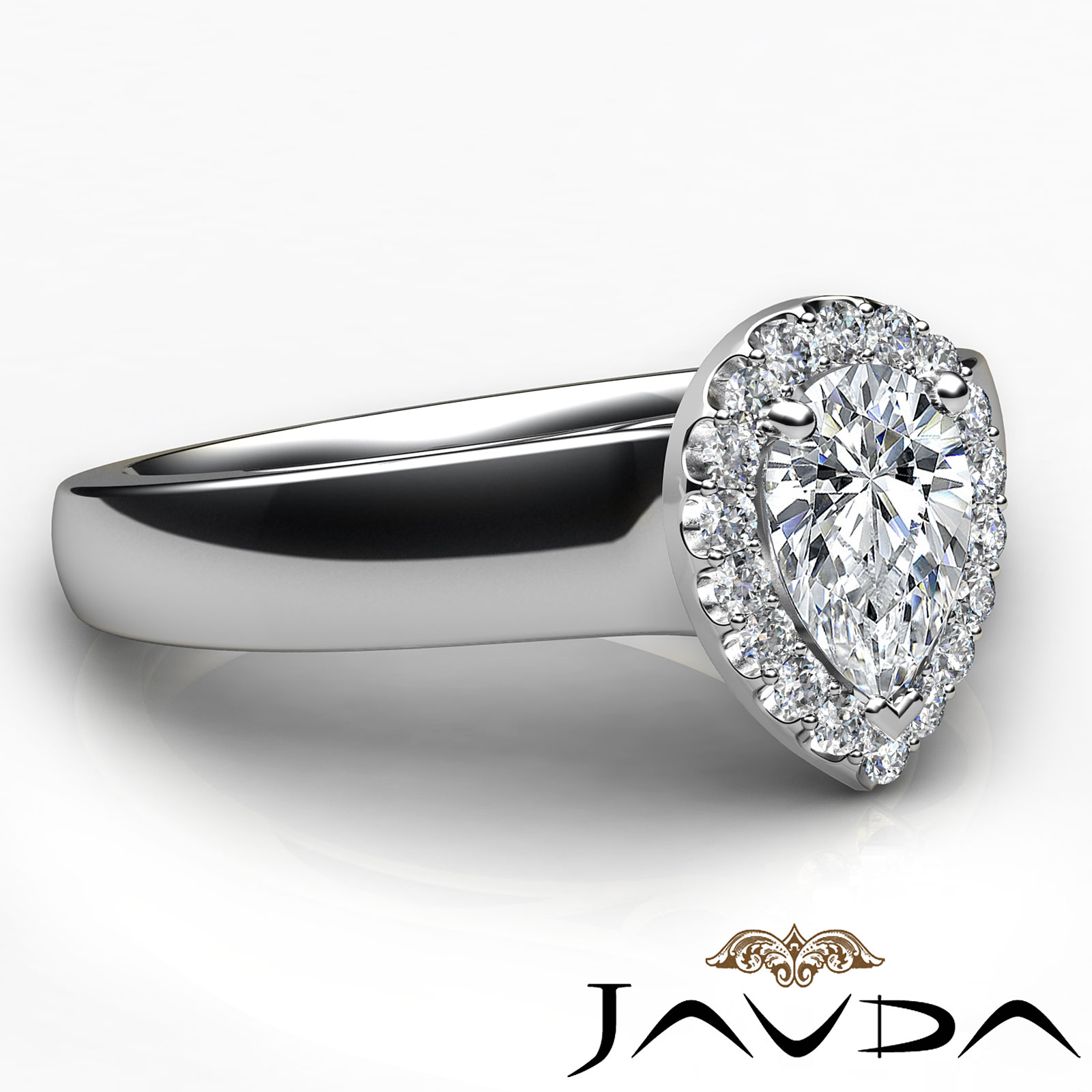 Pear Cut Halo Pave Set Diamond Classic Engagement Ring GIA
