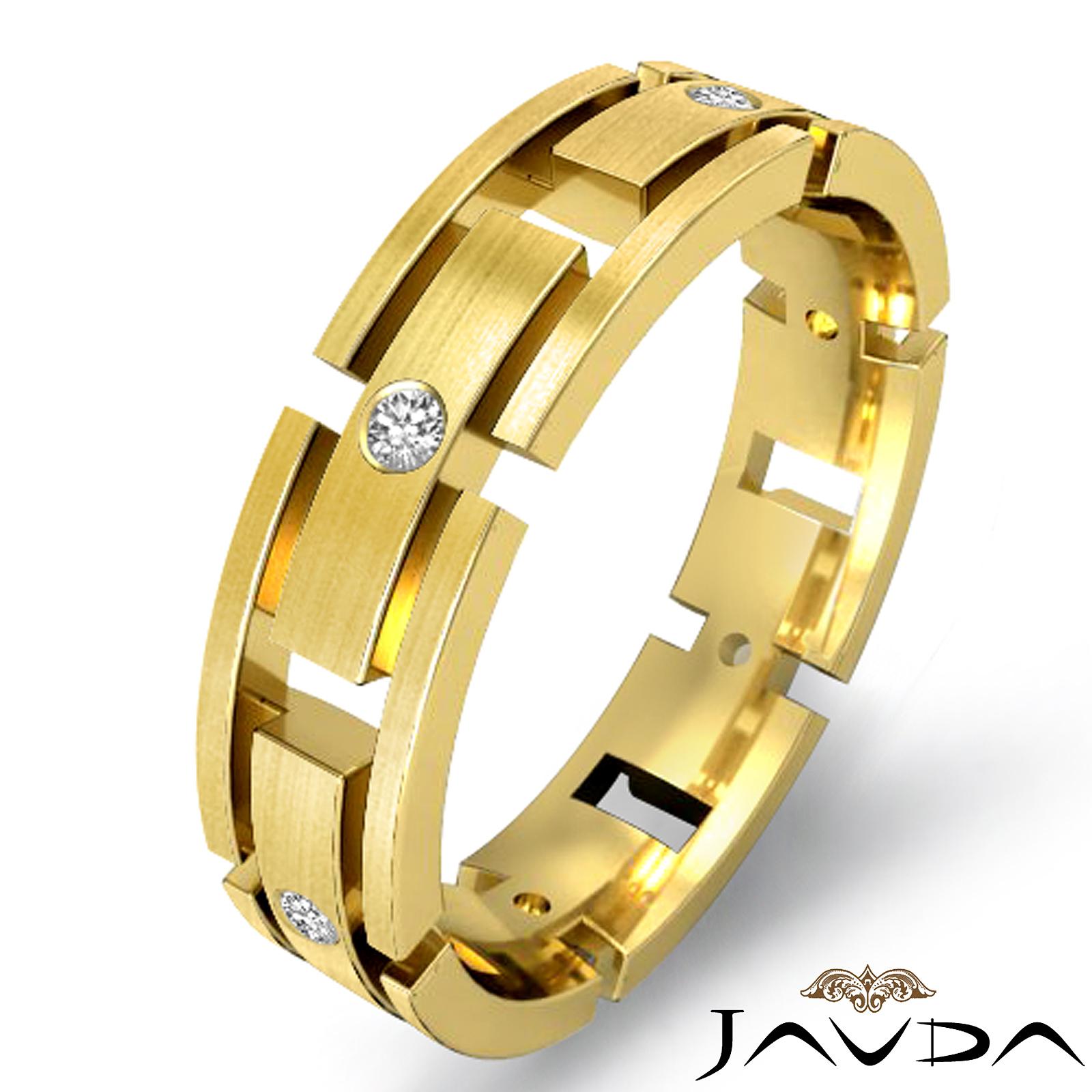 round diamond eternity wedding ring men 39 s block link band 18k yellow gold ebay. Black Bedroom Furniture Sets. Home Design Ideas