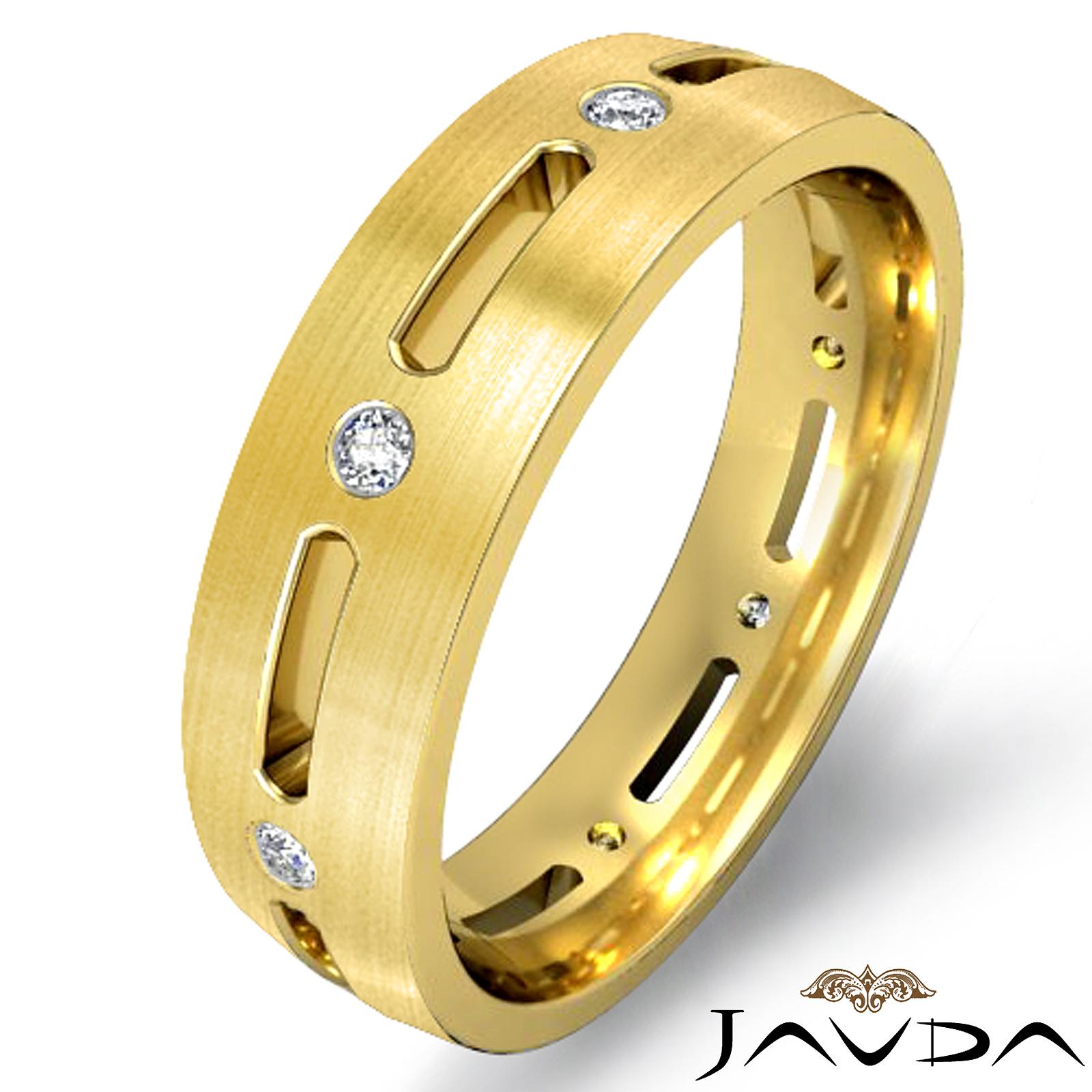 Round diamond bezel eternity wedding mens dome band ring for Mens eternity wedding band
