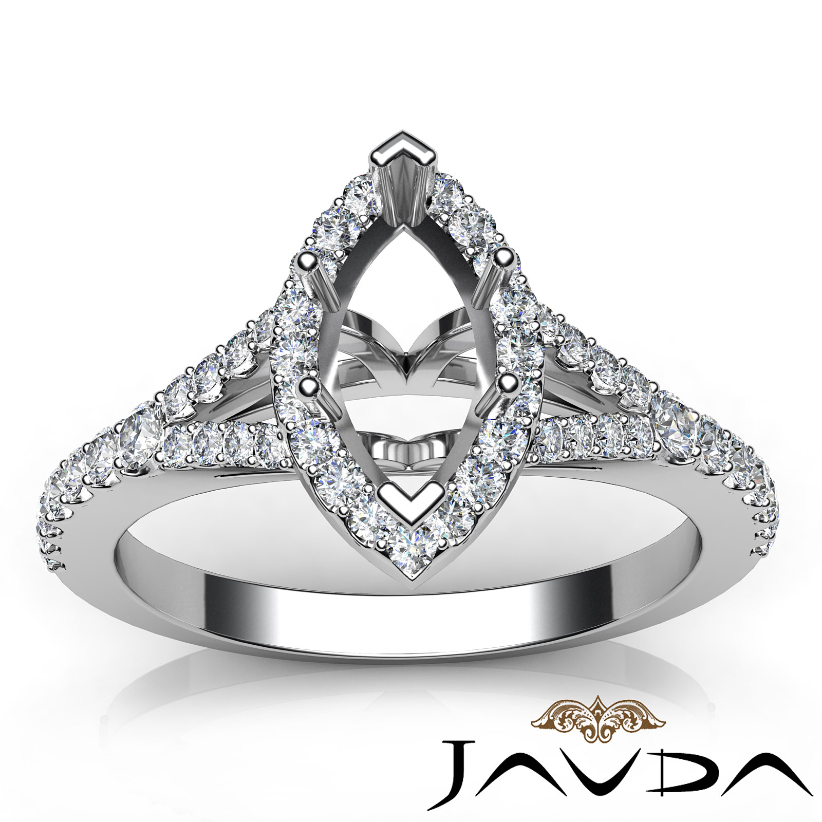 semi mount marquise diamond engagement 14k white gold halo. Black Bedroom Furniture Sets. Home Design Ideas