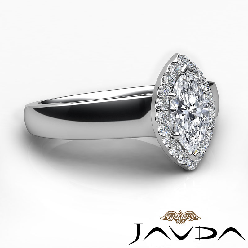 halo marquise cut engagement pave ring g vs1