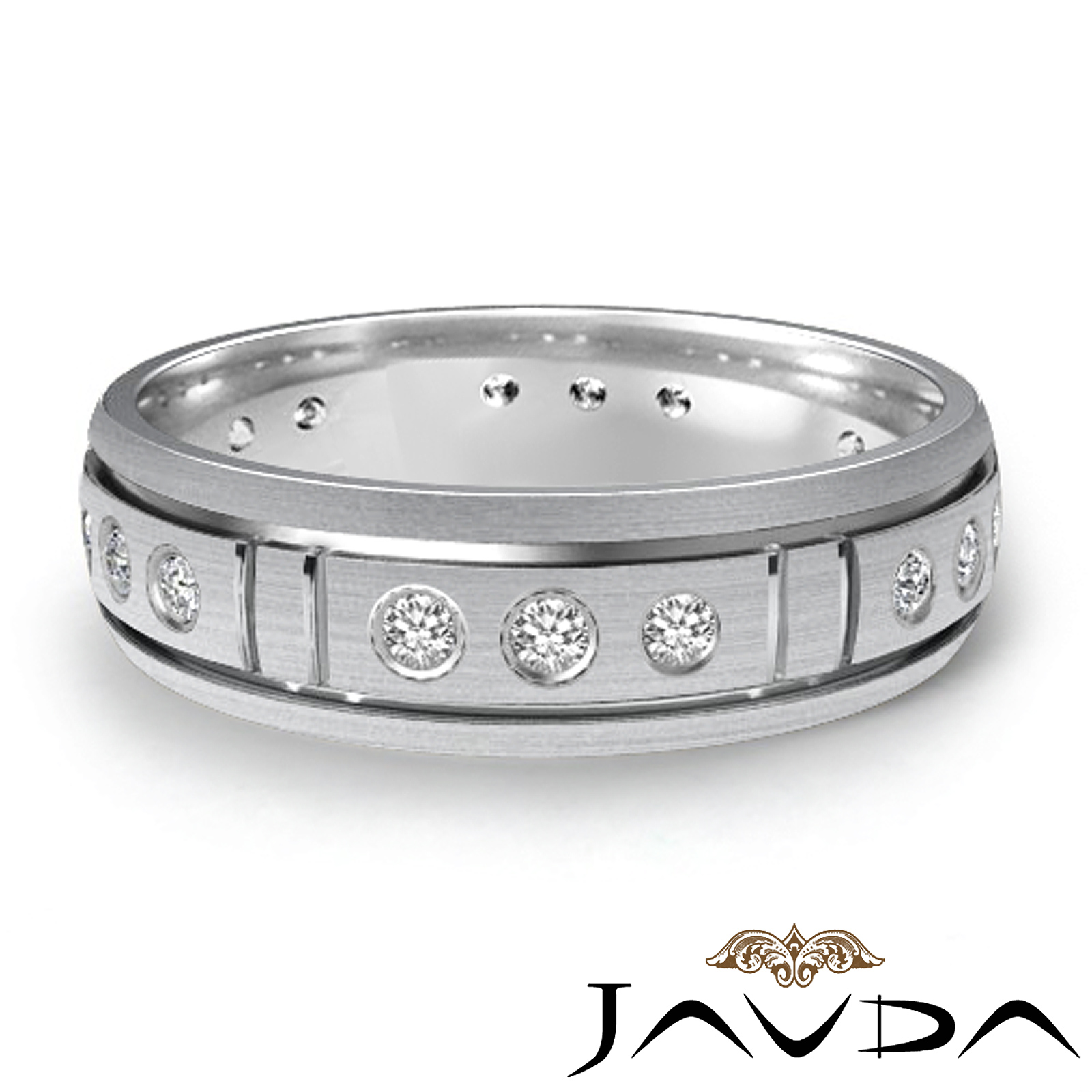 Round bezel diamond dome band mens eternity wedding ring for Mens eternity wedding band