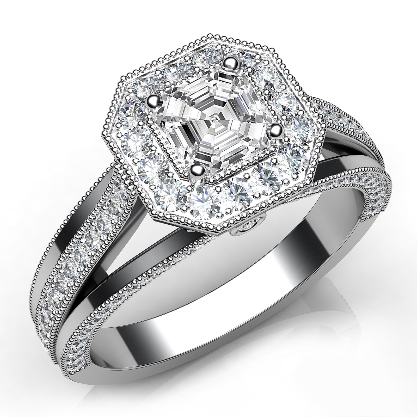 engagement diamond and with round asscher general asher information about baguette cut the ring