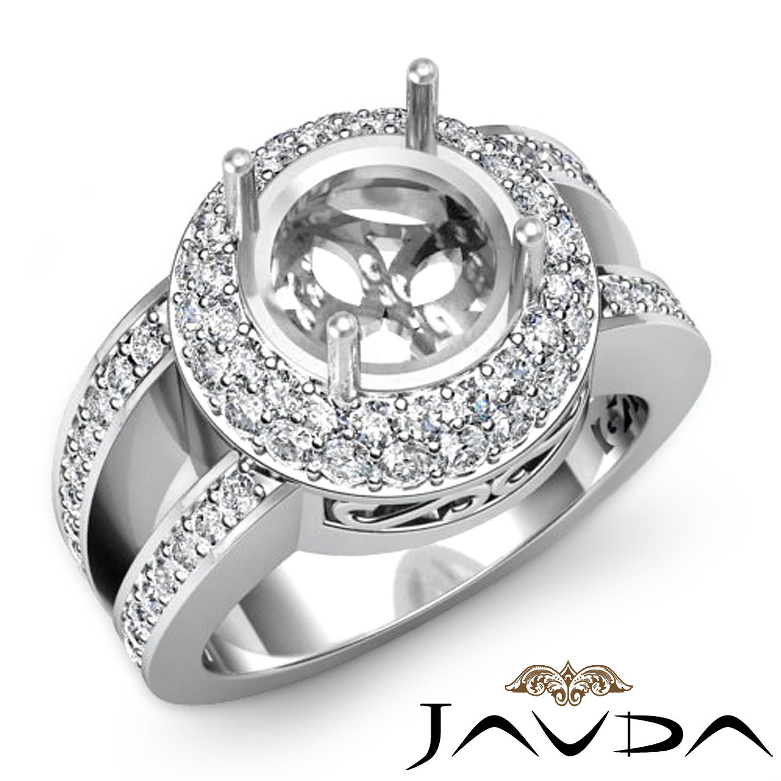 Halo Pave Diamond Anniversary Filigree Ring Platinum 950