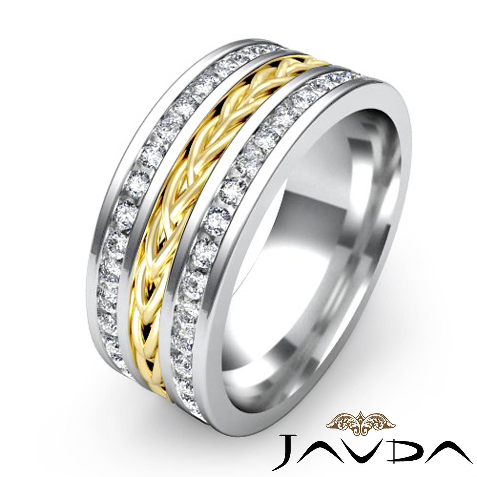 Braided design diamond men 39 s eternity wedding band 18k two for Mens eternity wedding band