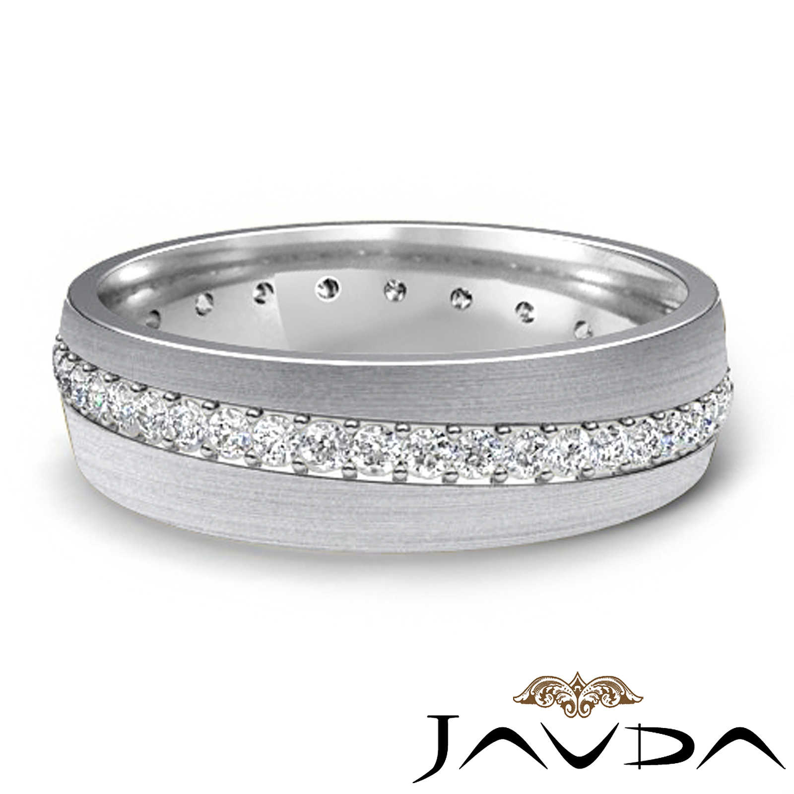 pave wedding dome band 14k white gold mens