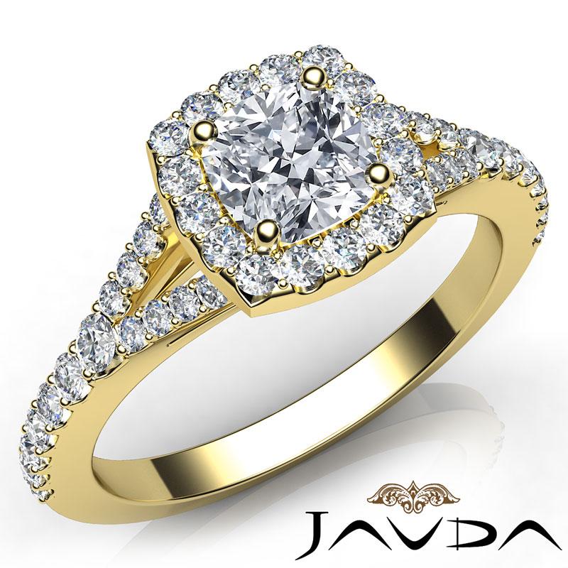 Halo Pave Set Cushion Cut Diamond Engagement Ring GIA H