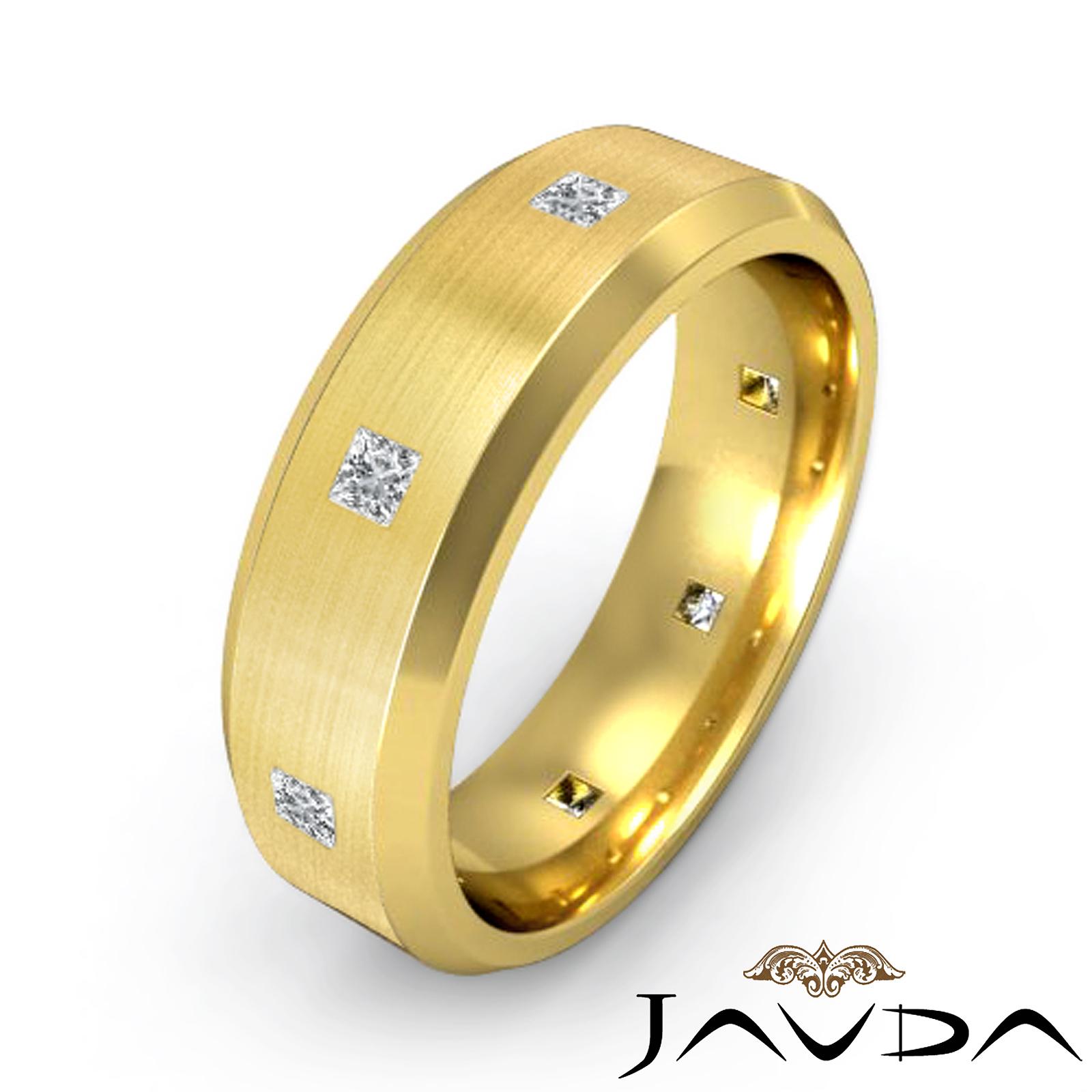 Princess diamond mens eternity ring 18k yellow gold for Mens eternity wedding band