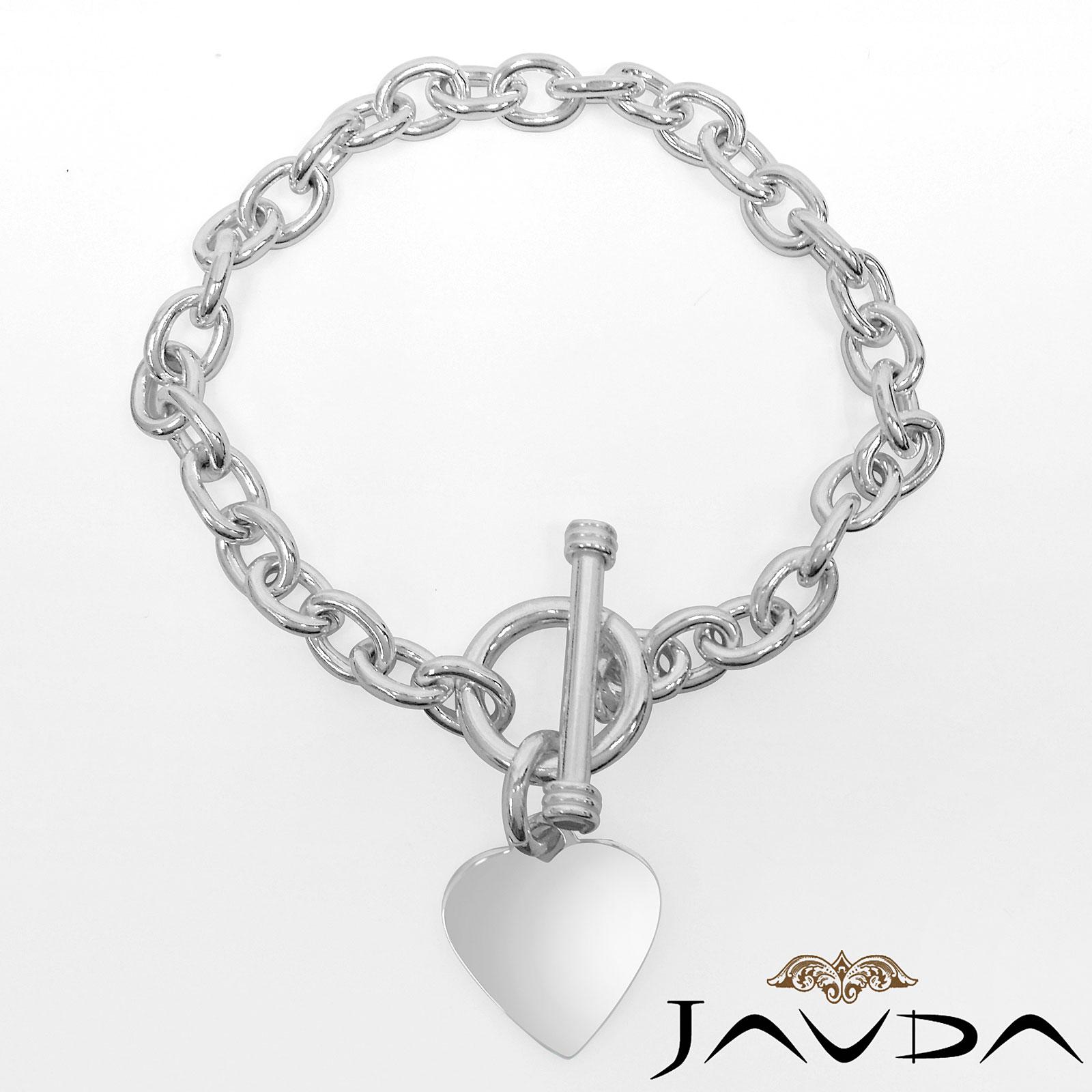 Silver Chain Link Bracelet: Heart Rolo Chain Link 925 Sterling Silver Gorgeous Women's