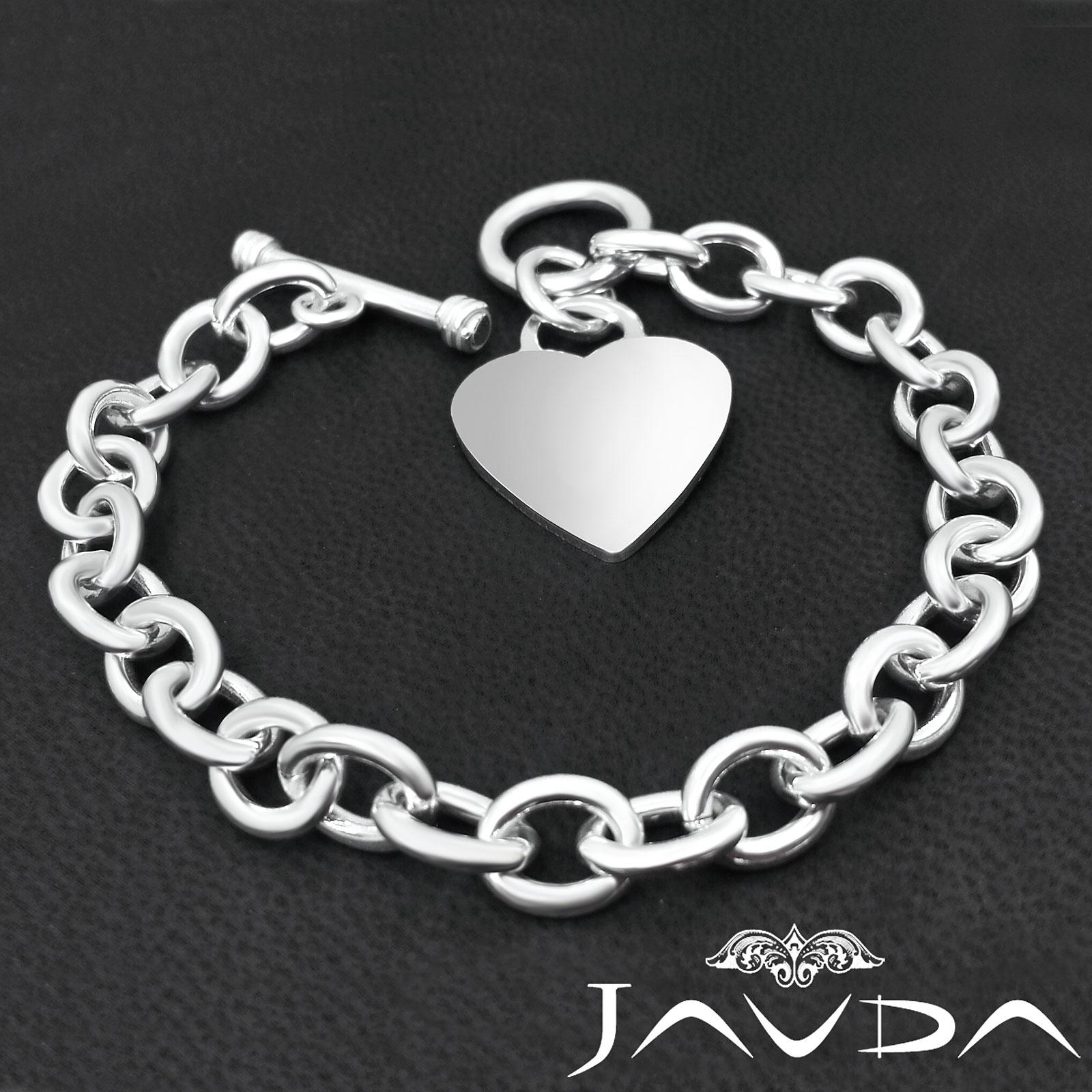 Women039s Bangle Bracelets: Heart Rolo Chain Link 925 Sterling Silver Gorgeous Women's