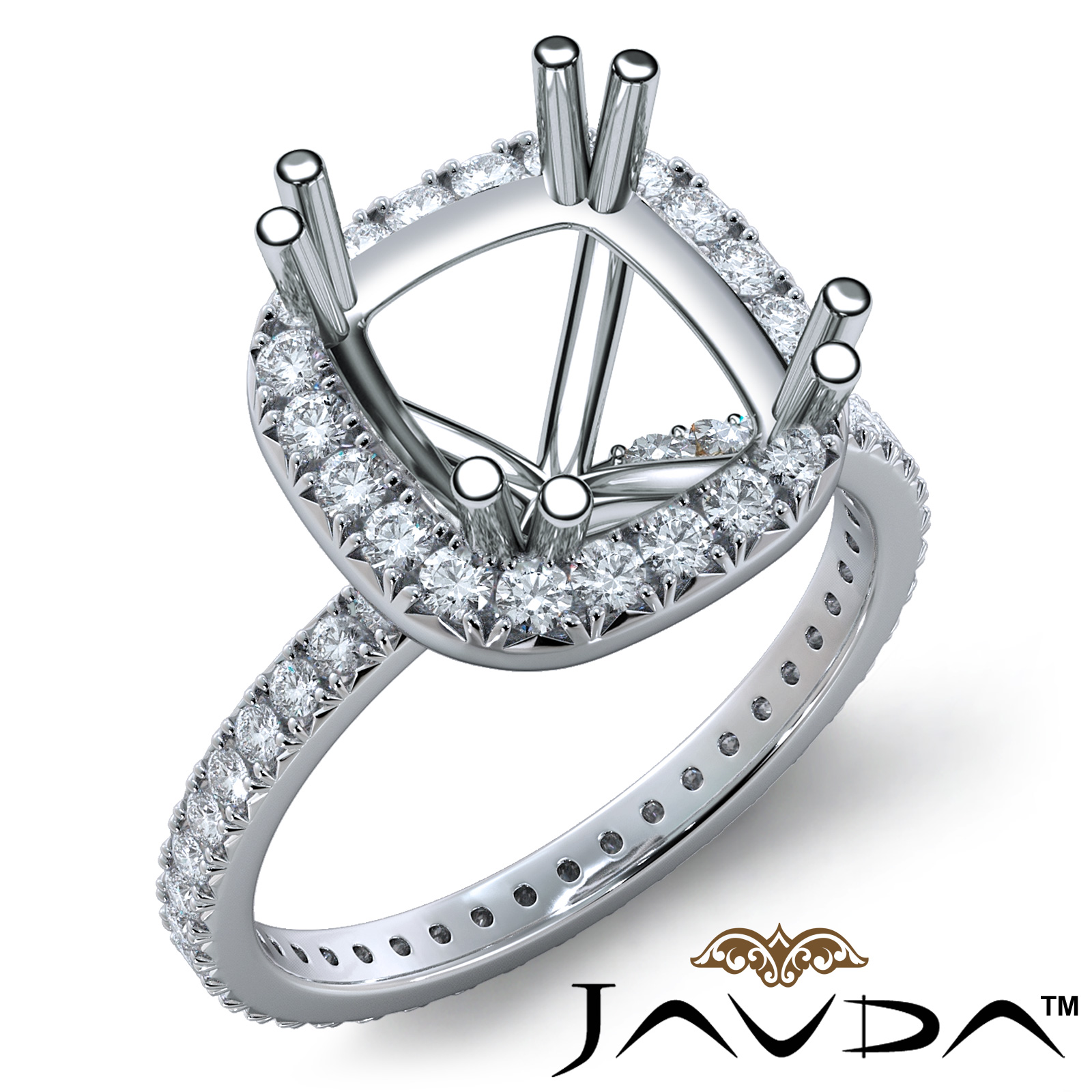 Halo Anniversary Bands: Diamond Engagement Halo Eternity Ring Cushion 0.75Ct Semi