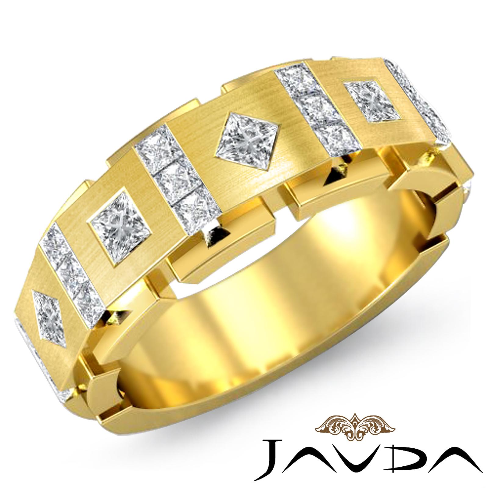 9 5mm Mens Princess Cut Diamond Half Wedding Band 14k Gold Solid Ring 1Ct tw