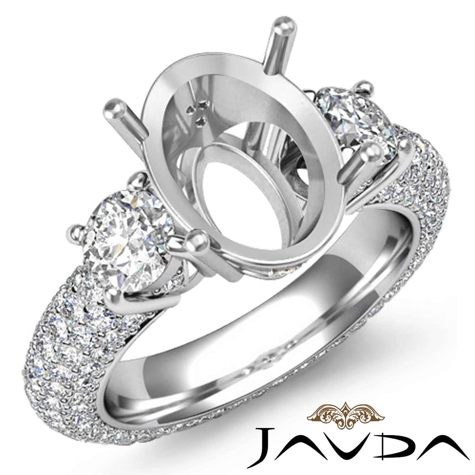 3 stone round diamond engagement ring setting 14k w gold. Black Bedroom Furniture Sets. Home Design Ideas