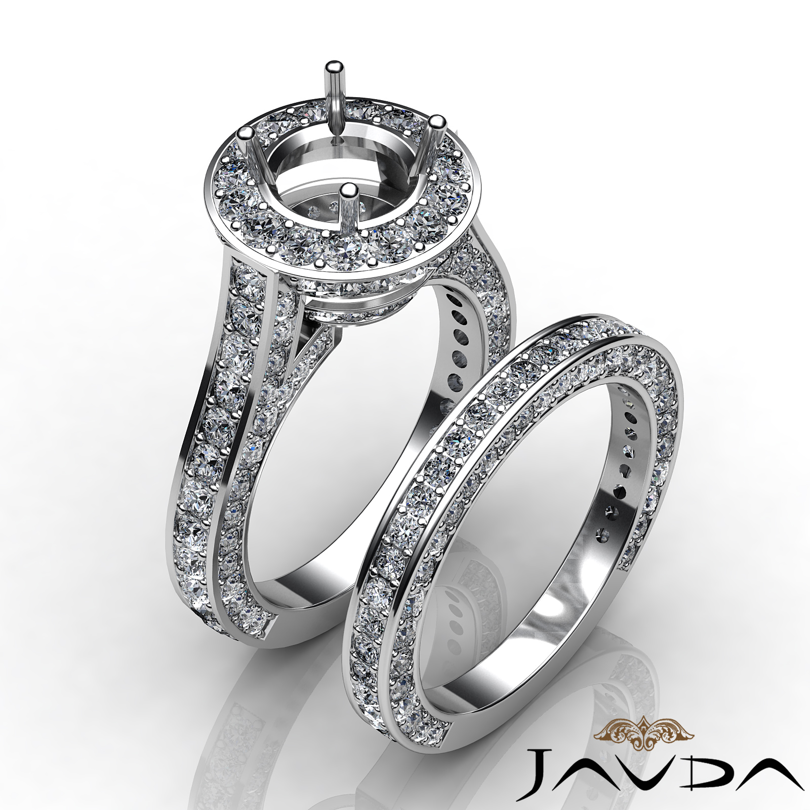 wedding bridal set 14k white gold semi mount