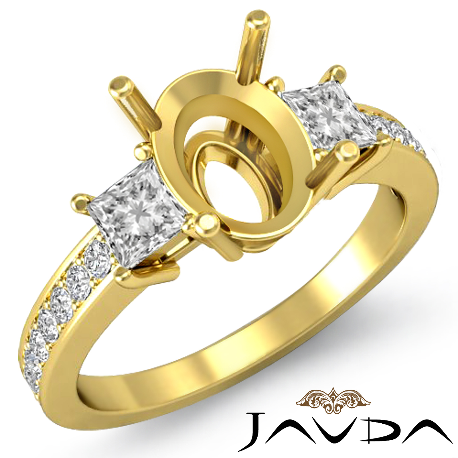 Diamond Engagement 3 Stone Unique Ring Princess Oval Mount 18k Yellow Gold 0