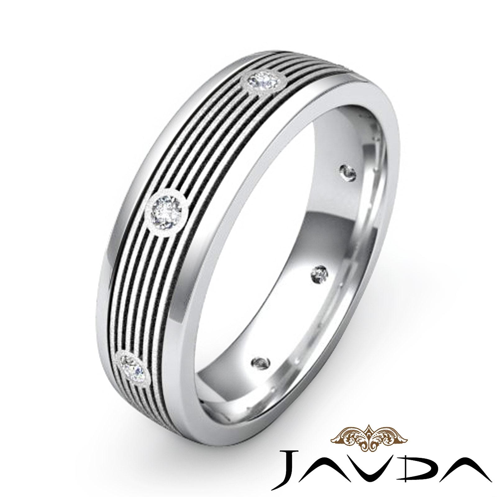 Round bezel diamond mens eternity wedding band solid ring for Mens eternity wedding band