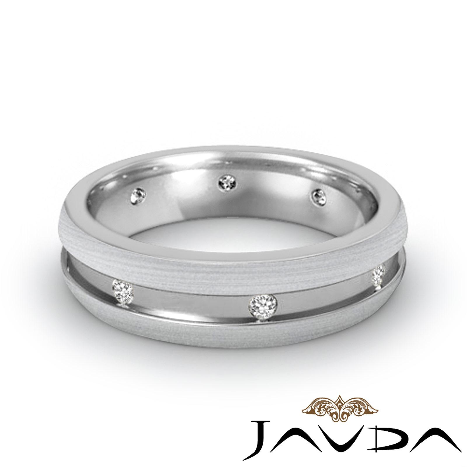 Diamond Mens Eternity Wedding Band 18k White Gold Side Brushed Solid Ring 016Ct