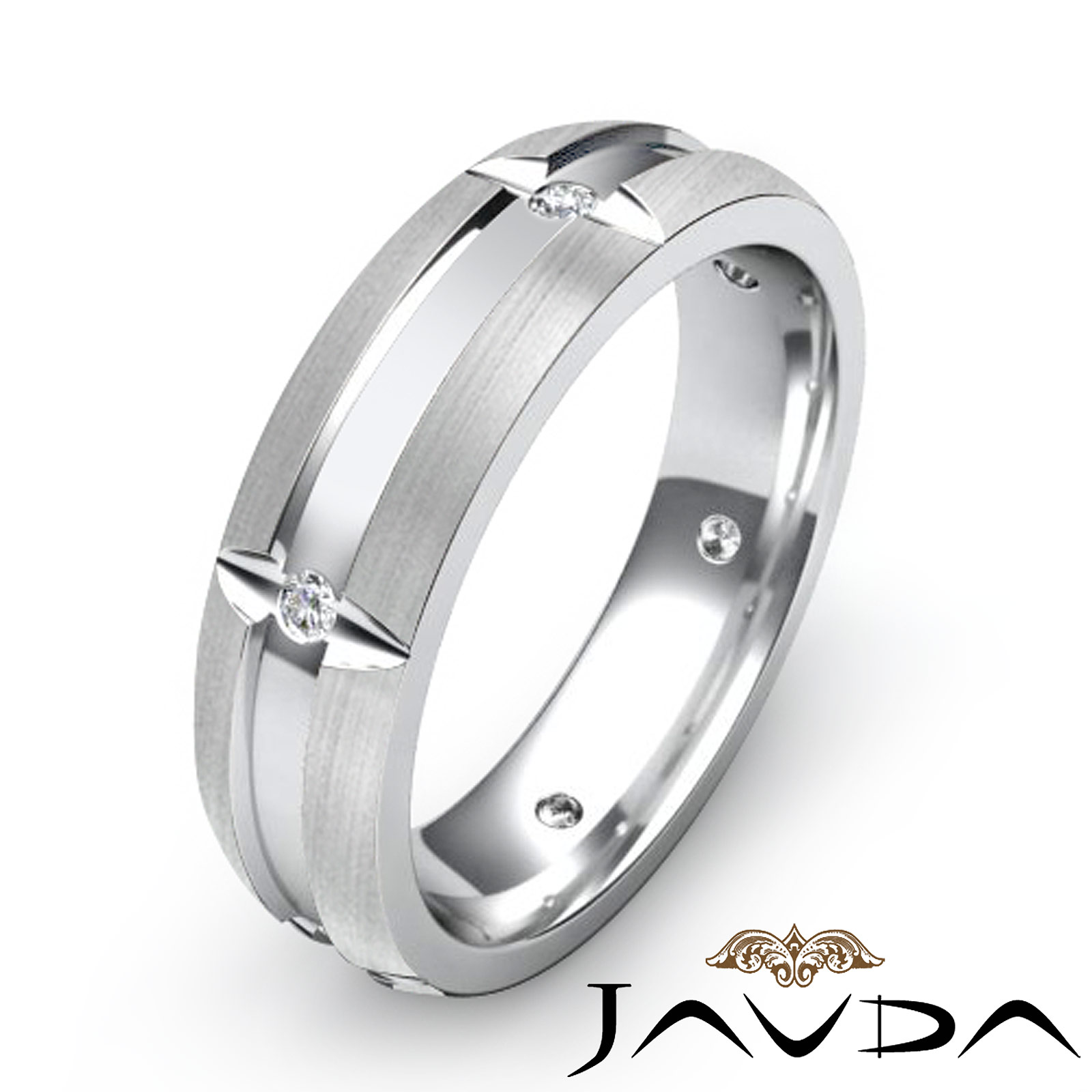Bezel round diamond mens eternity wedding band 14k white for Mens eternity wedding band