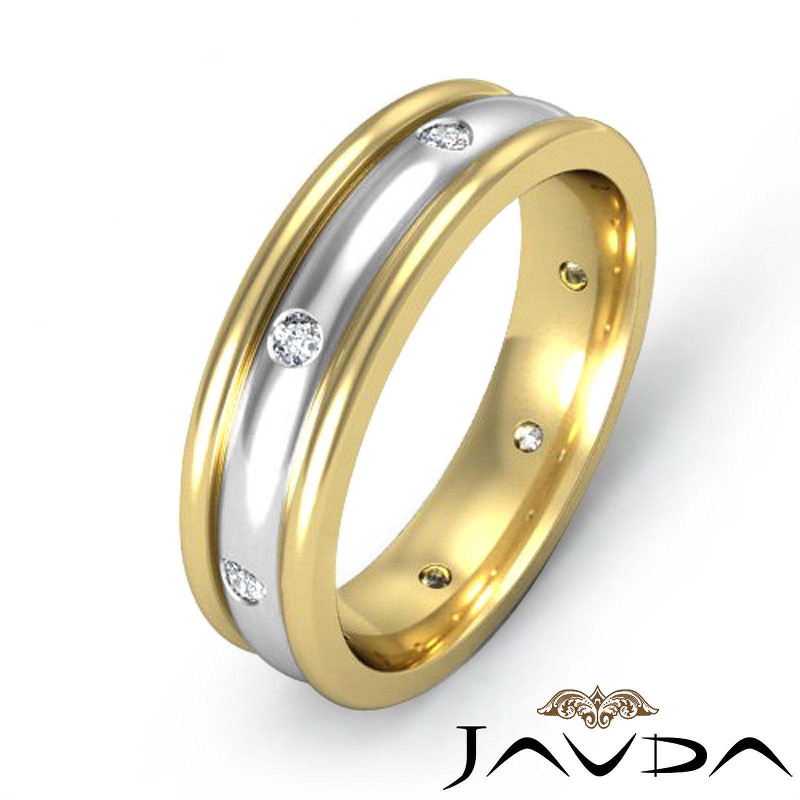 Mens Bezel Round Diamond Solid Ring Eternity Wedding Band 18k 2Tone Gold 016Ct Tw