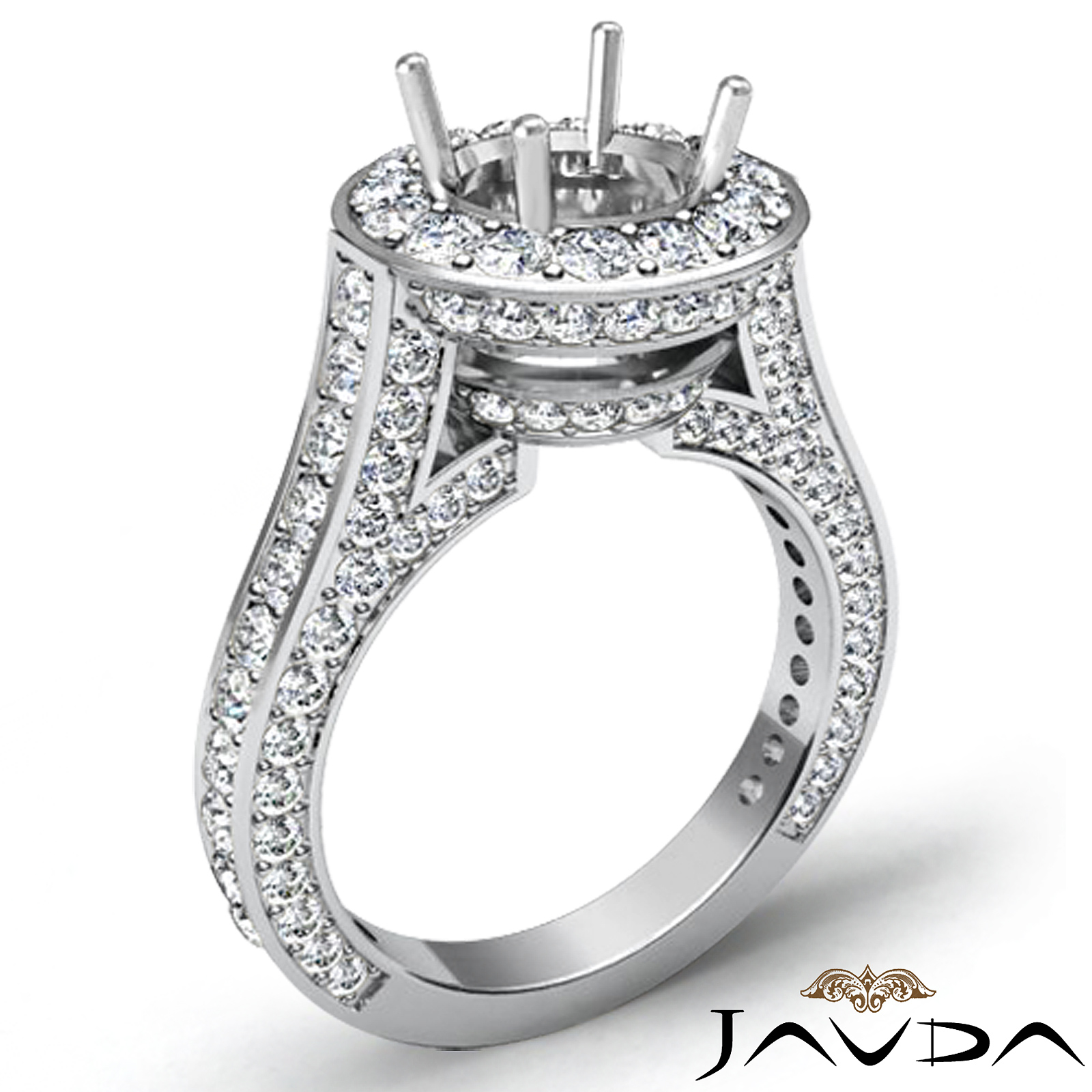 Diamond engagement round shape semi mount platinum