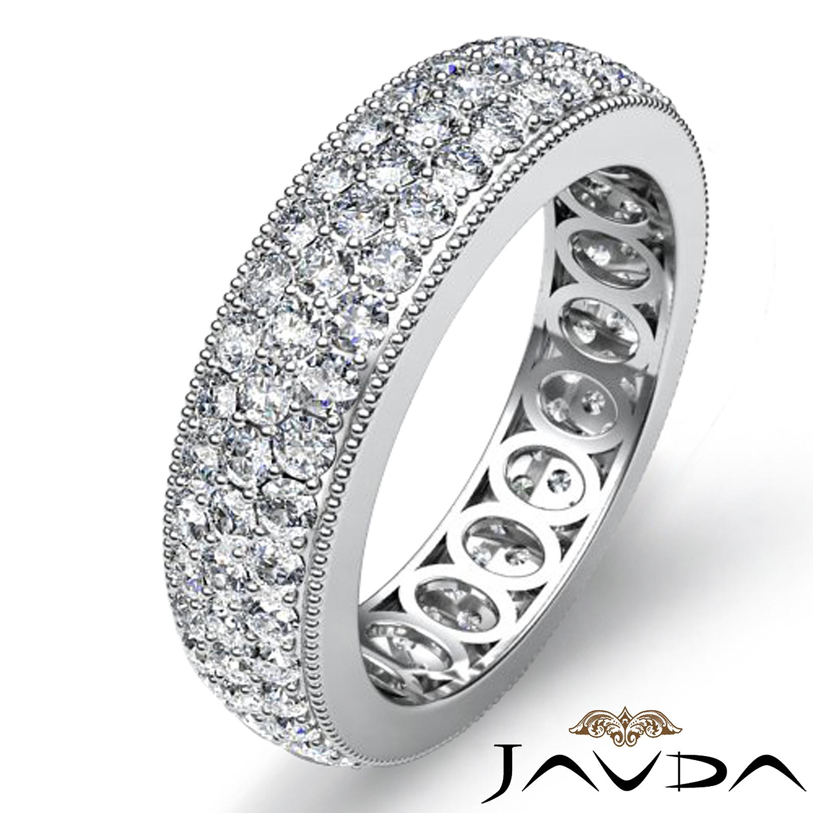 3 Row Pave Set Diamond Ring 14k White Gold Women S Wedding