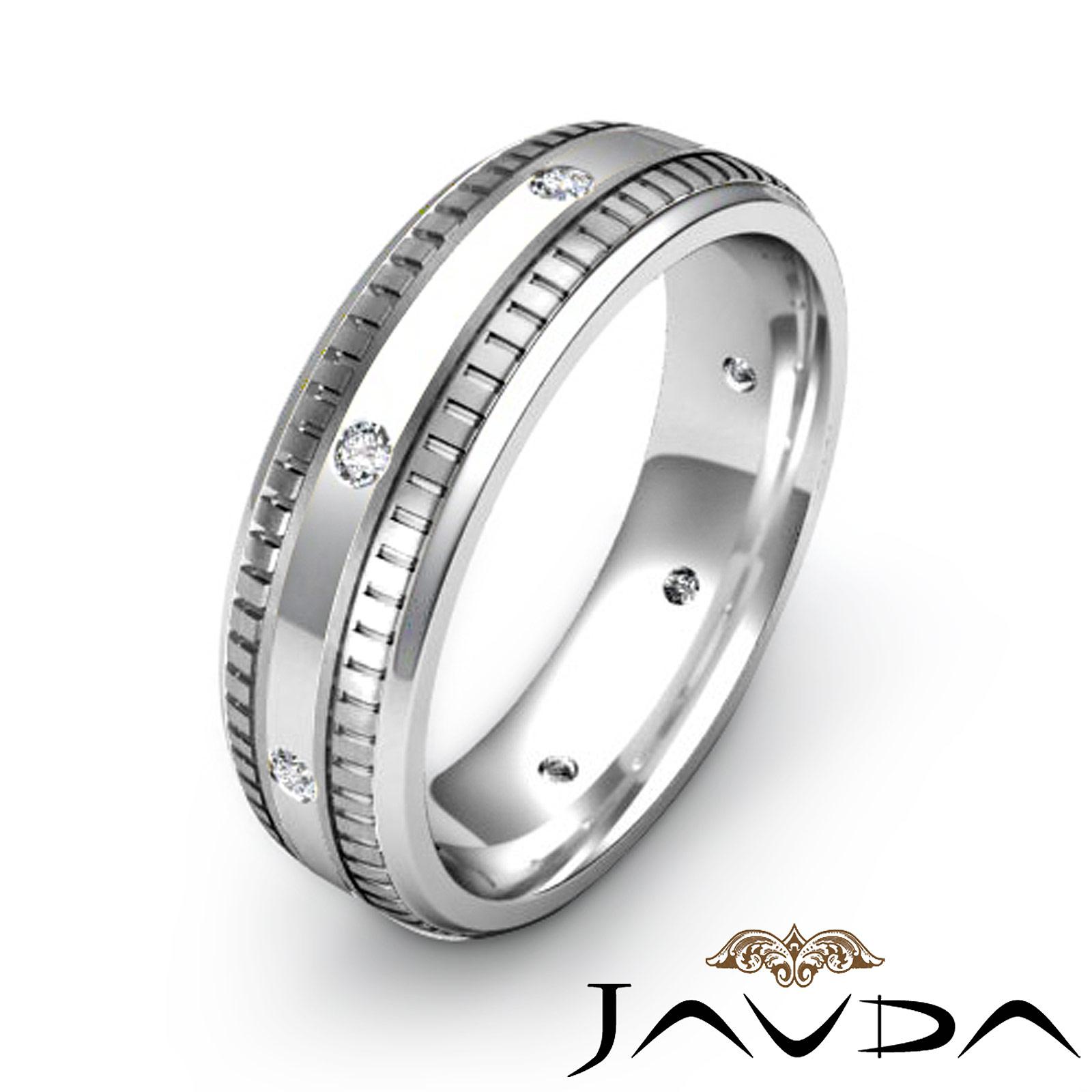 Round bezel diamond mens eternity wedding band 14k white for Mens eternity wedding band