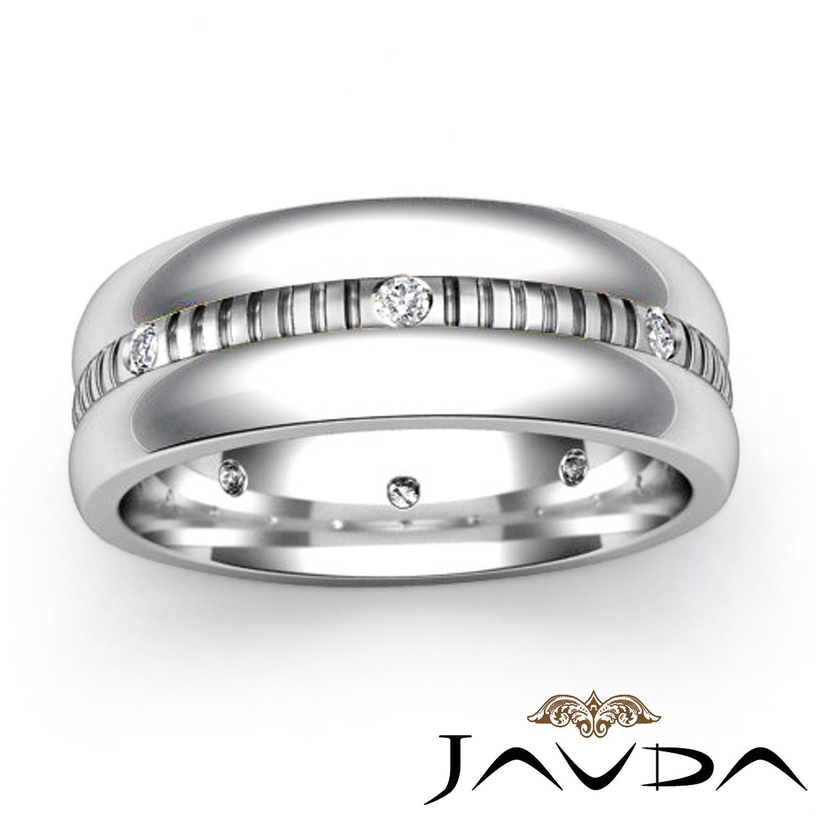 Round Bezel Diamond Mens Eternity Wedding Band 14k White Gold Solid Ring 016Ct
