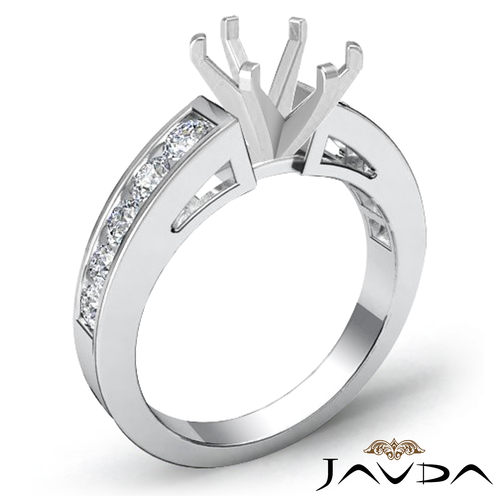 channel set diamond engagement ring 14k white gold oval. Black Bedroom Furniture Sets. Home Design Ideas