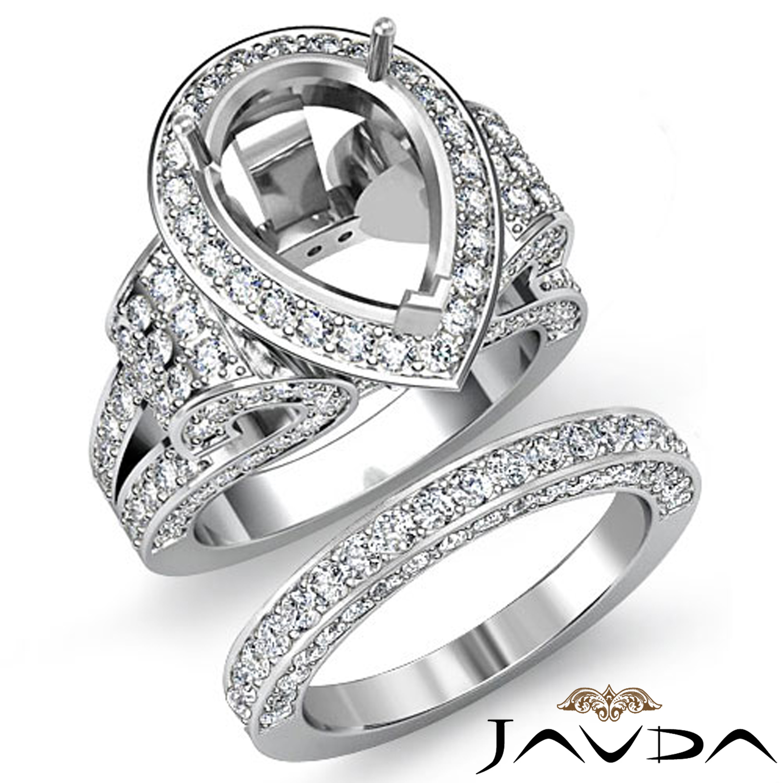 Diamond Engagement Ring Pear Pave Bridal Sets Semi Mount