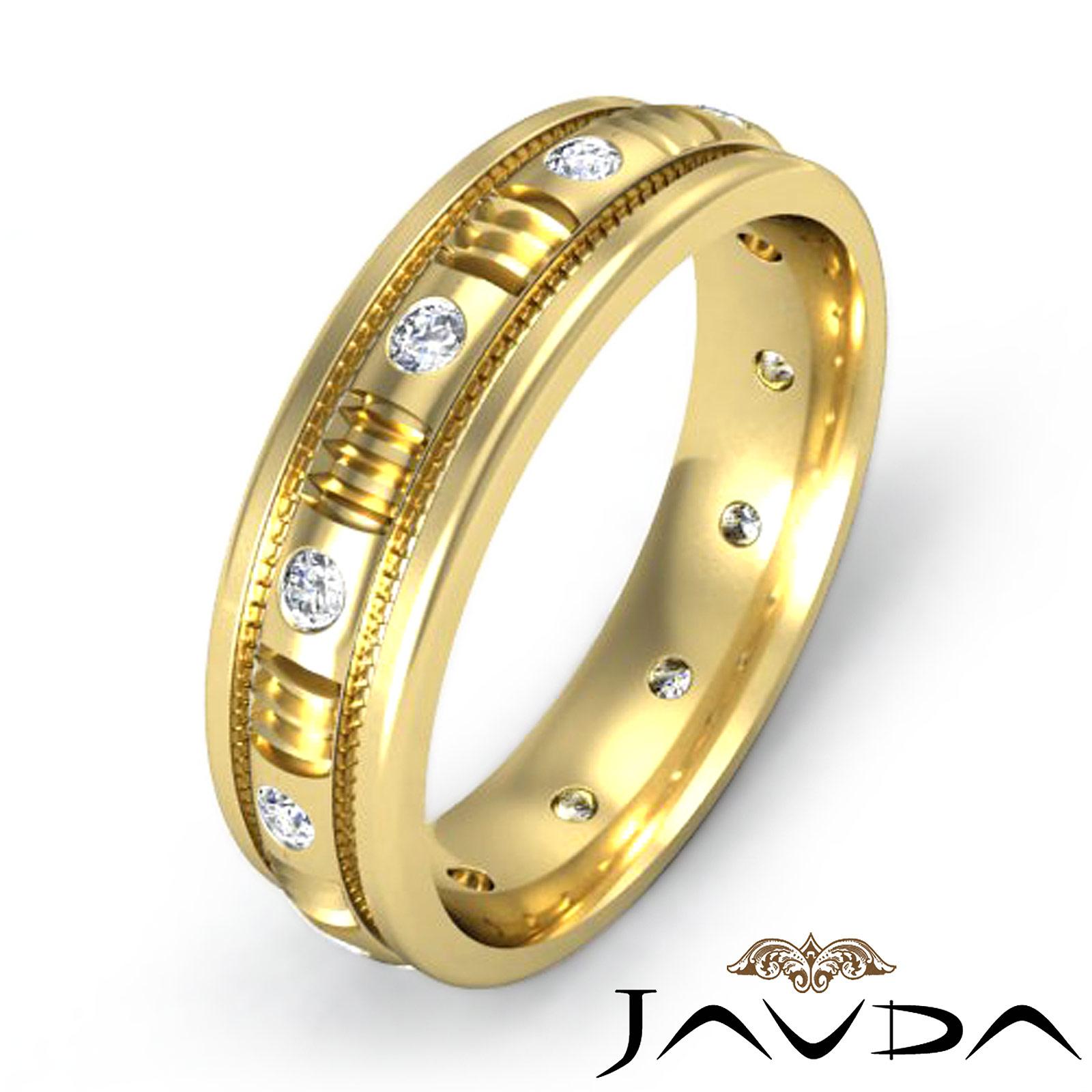 Mens diamond eternity wedding ring 18k yellow gold center for Mens eternity wedding band