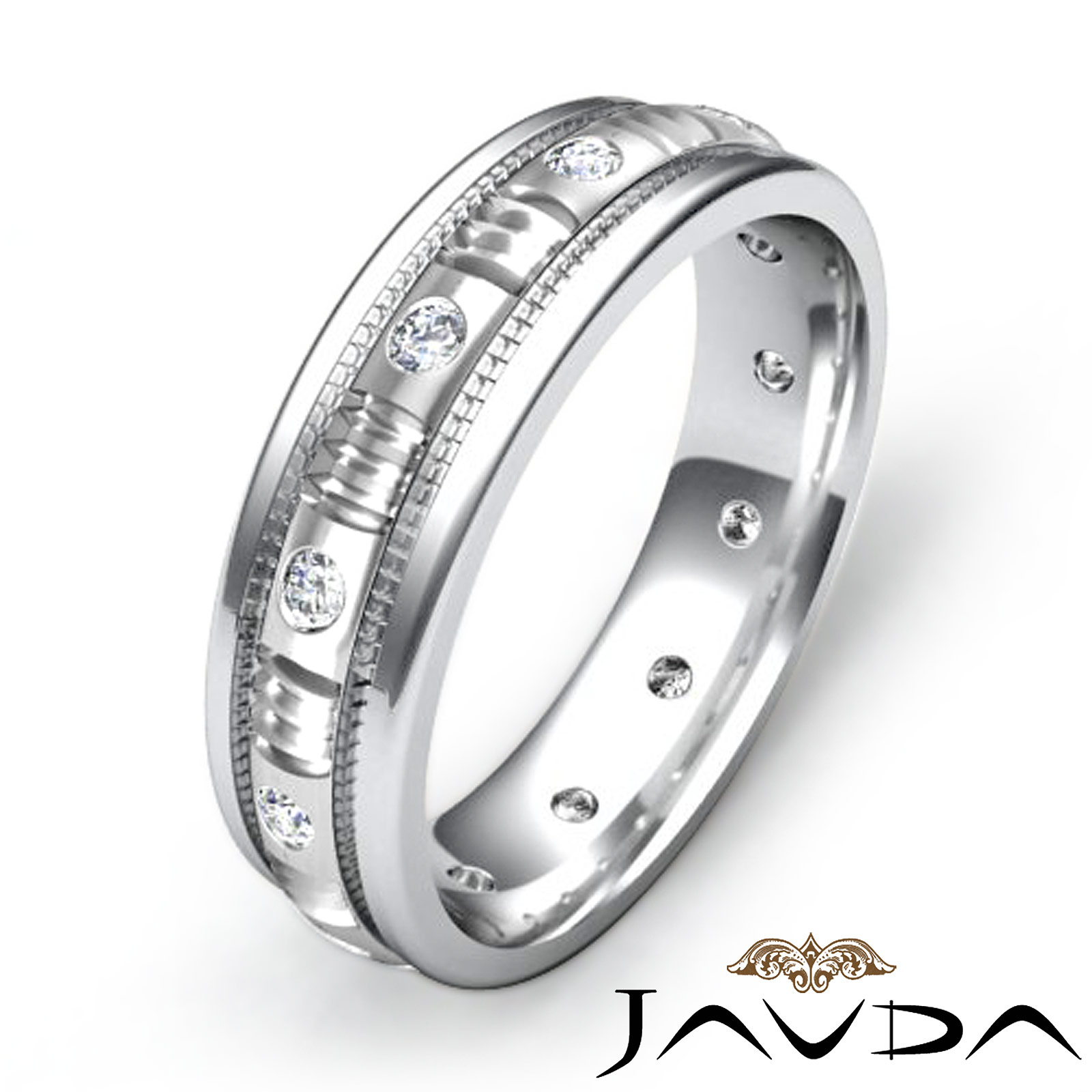 Mens diamond eternity wedding band 18k w gold millgrain for Mens eternity wedding band