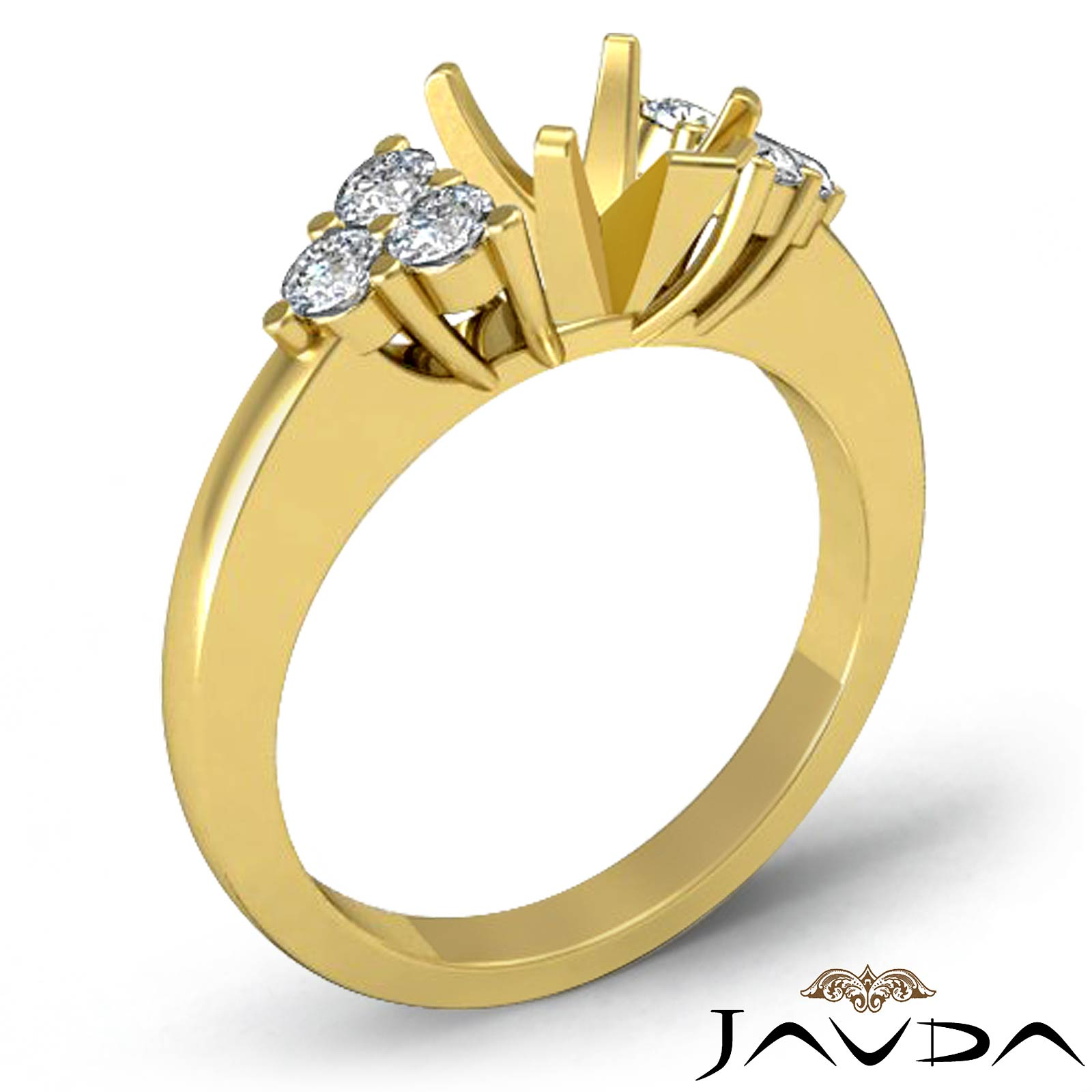 Natural Round Diamond 3 Stone Pear Mount Engagement Ring 18k Yellow Gold 0 3C