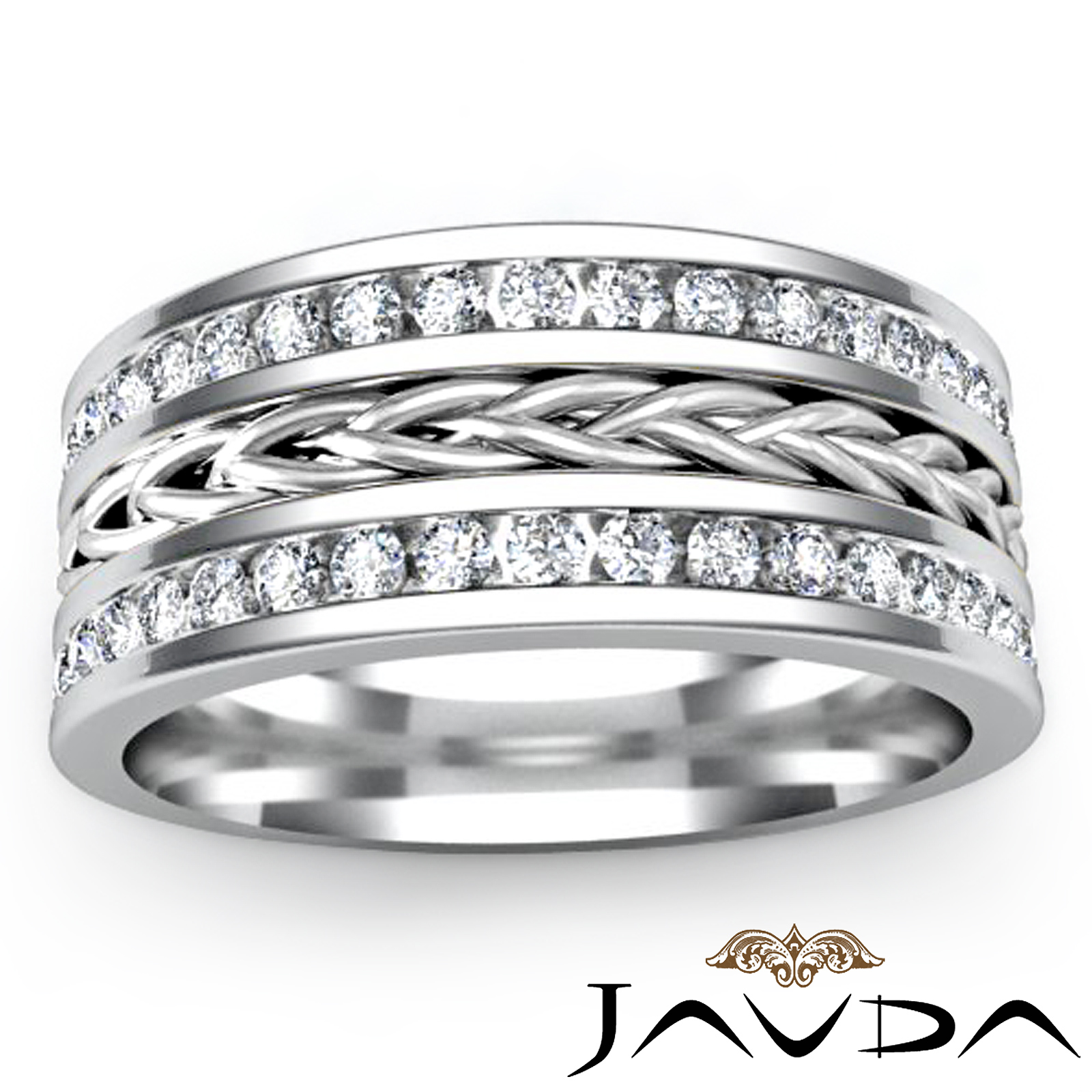 Rope Design Bands: Rope Design Eternity Mens Wedding Ring Pave Diamond 9.5mm