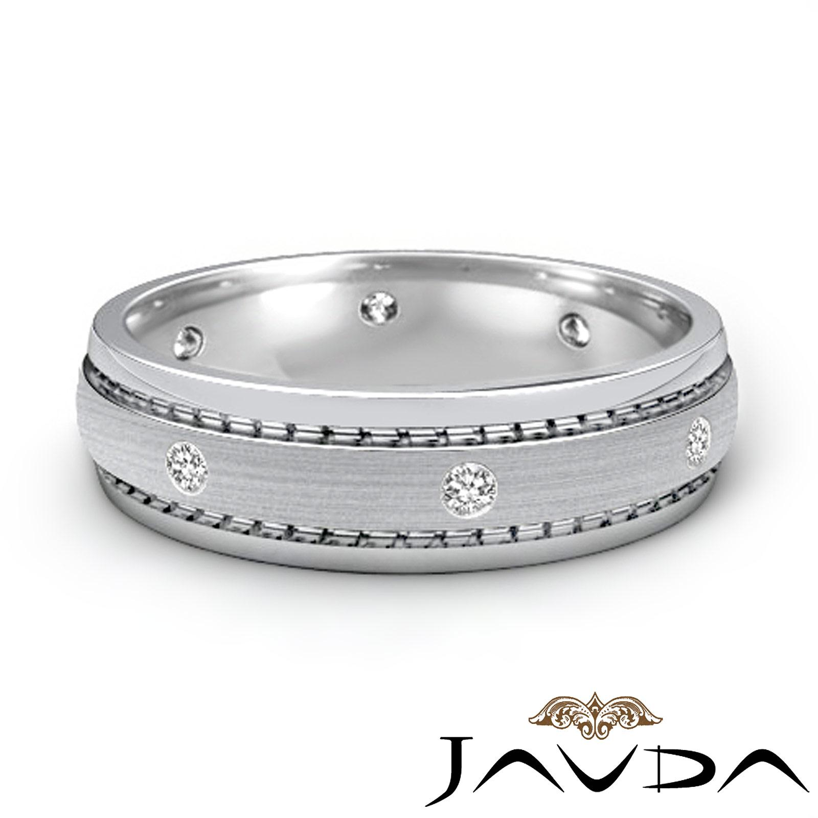 Unique Wedding Bands Platinum: Eternity Wedding Band Mens Diamond Solid Unique Ring Matt