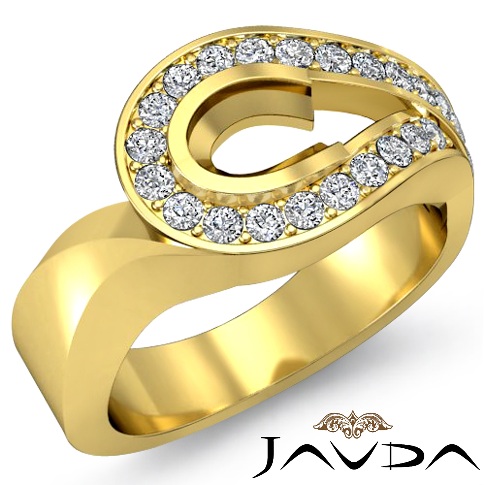 Oval Semi Mount Diamond Engagement Unique Ring 14k Yellow Gold Halo Pave 0 5C