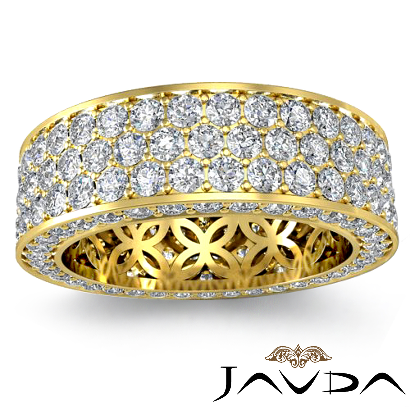3 Row Women S Anniversary Band 18k Gold Pave Eternity Ring