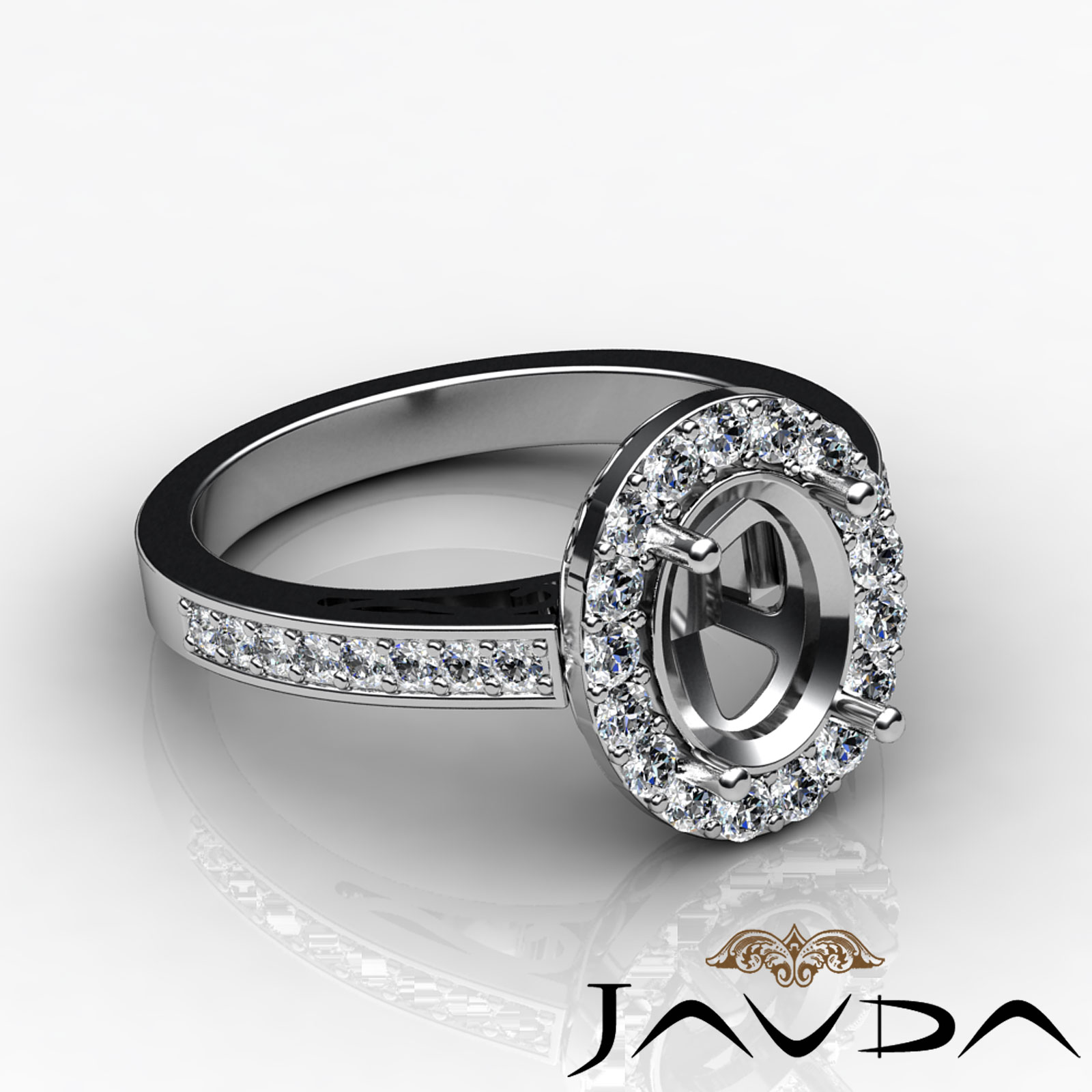 Halo Pave Setting Diamond Engagement Oval Semi Mount Ring 18k White Gold 1 3C
