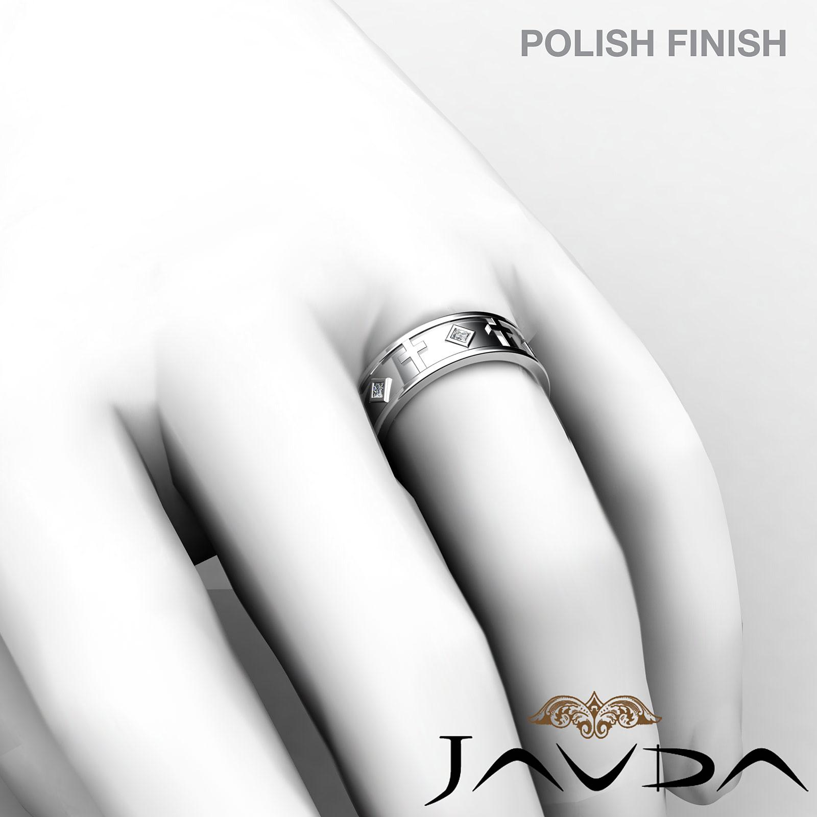 Princess Diamond Mens Cross Design Eternity Wedding Band 14k W