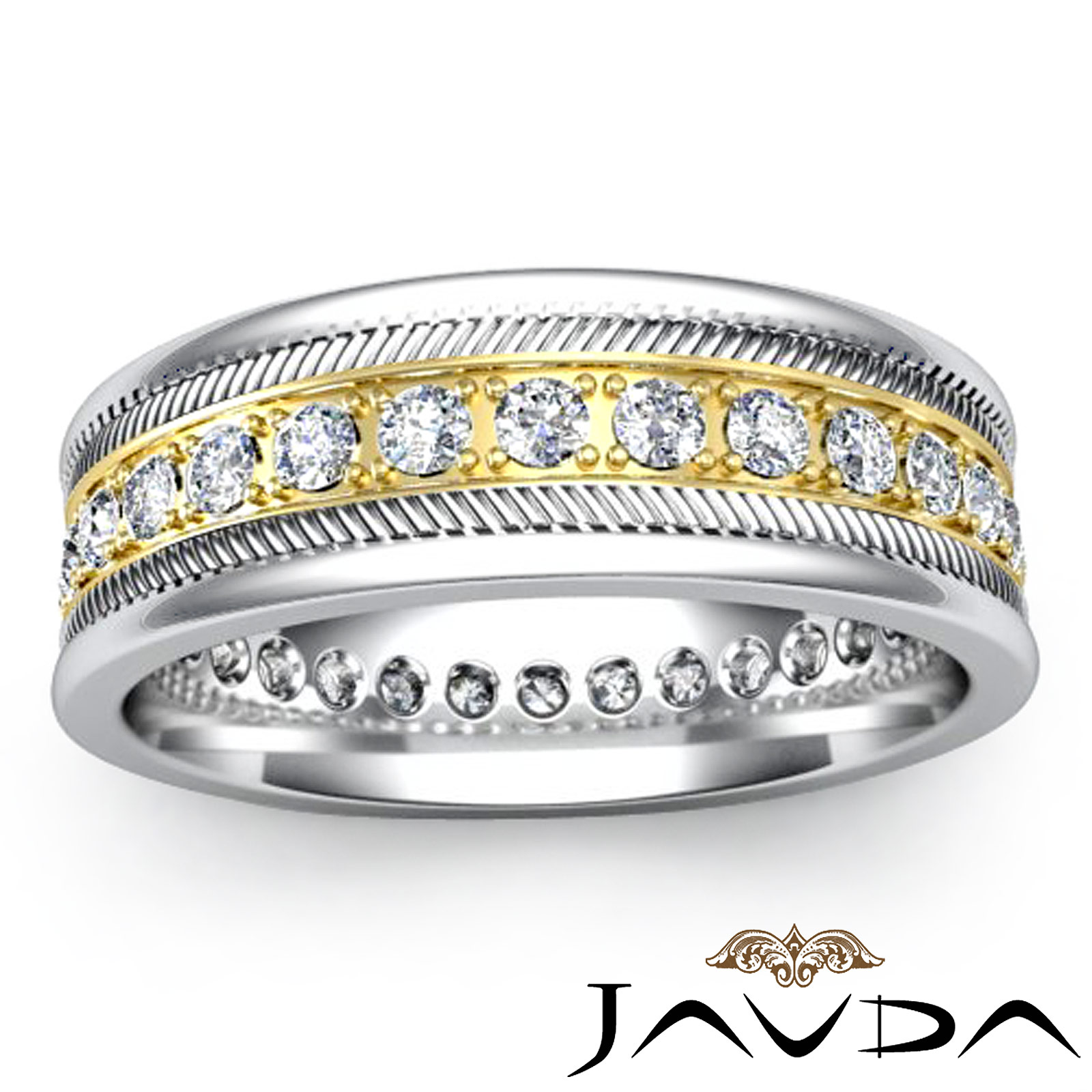 Round Pave Diamond Mens Solid Ring Eternity Wedding Band 14k 2Tone Gold 065Ct