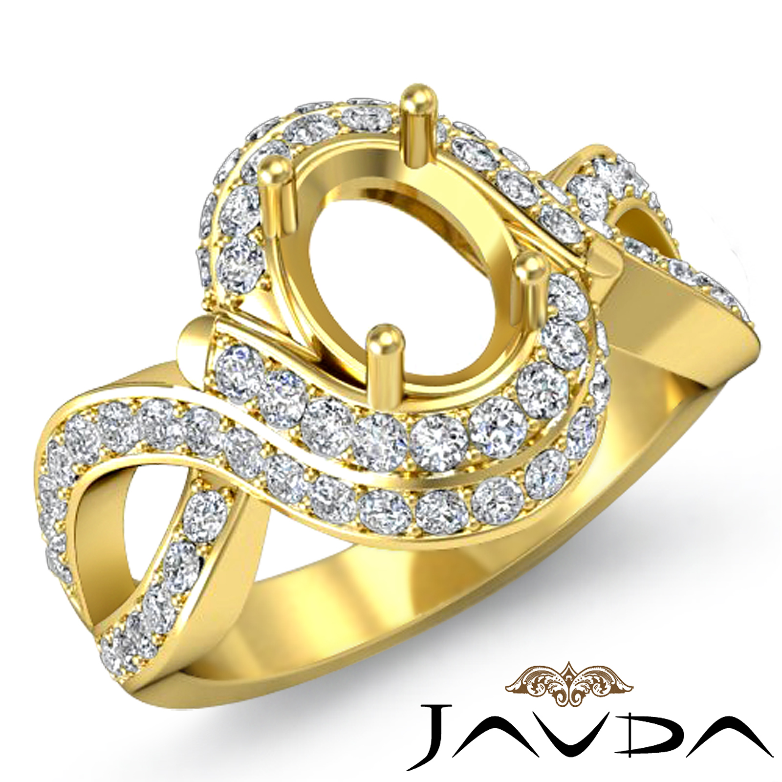Diamond Engagement Antique Ring Oval Semi Mount 18k Yellow Gold Curve Shank 1