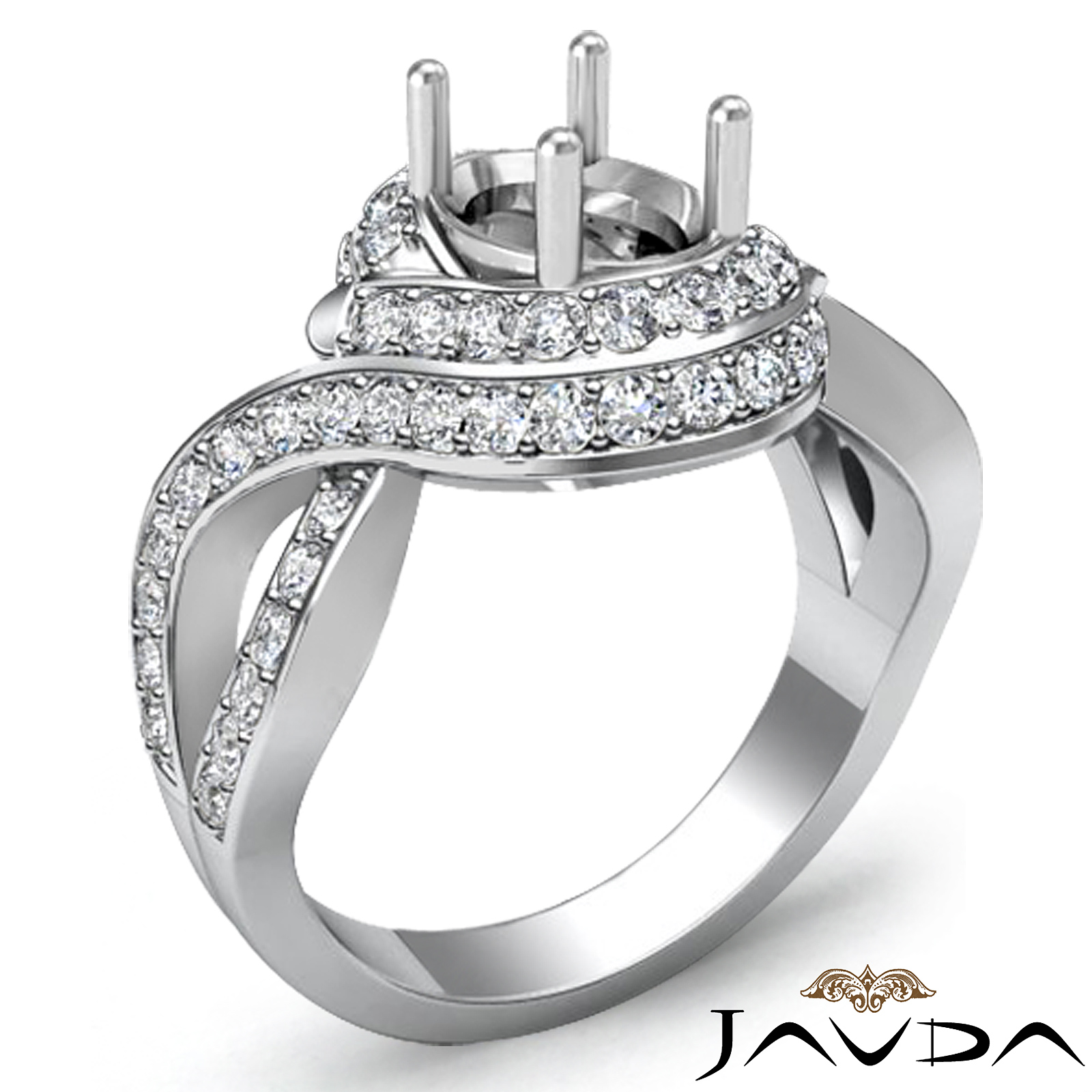 Halo Diamond Engagement Antique Ring Oval Semi Mount Platinum Curve Shank 1Ct
