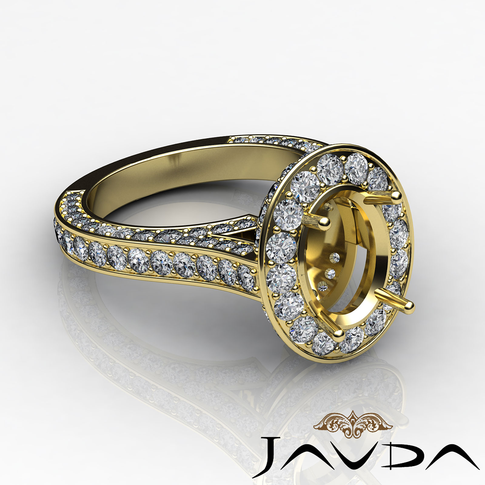 Oval Diamond Engagement Vintage Ring 14k Yellow Gold Halo Pave Semi Mount 2 1