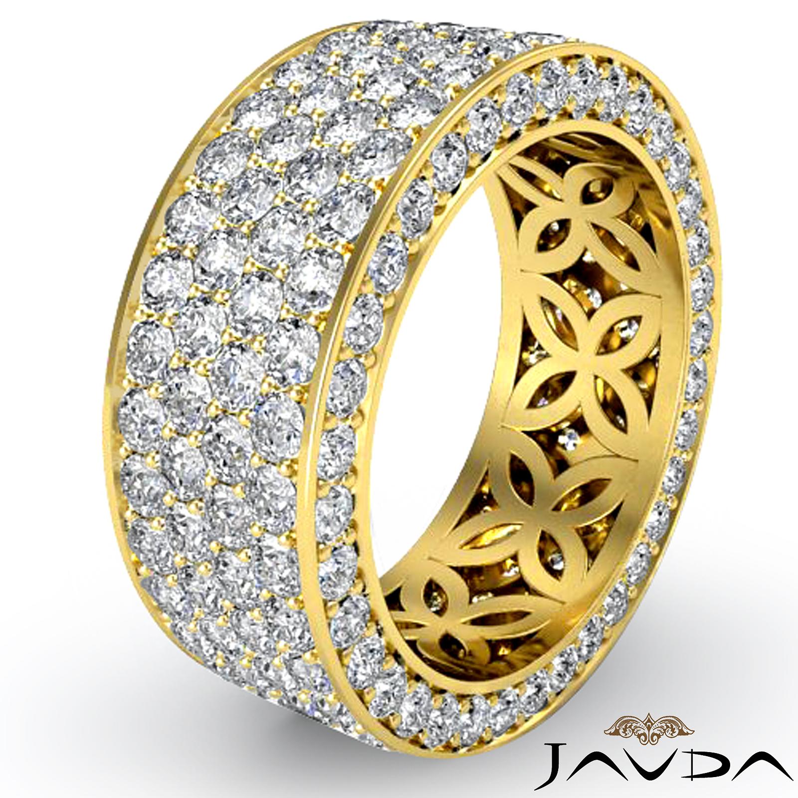 4 Row Pave Eternity Round Diamond Ring Womens Wedding Band 18k Gold